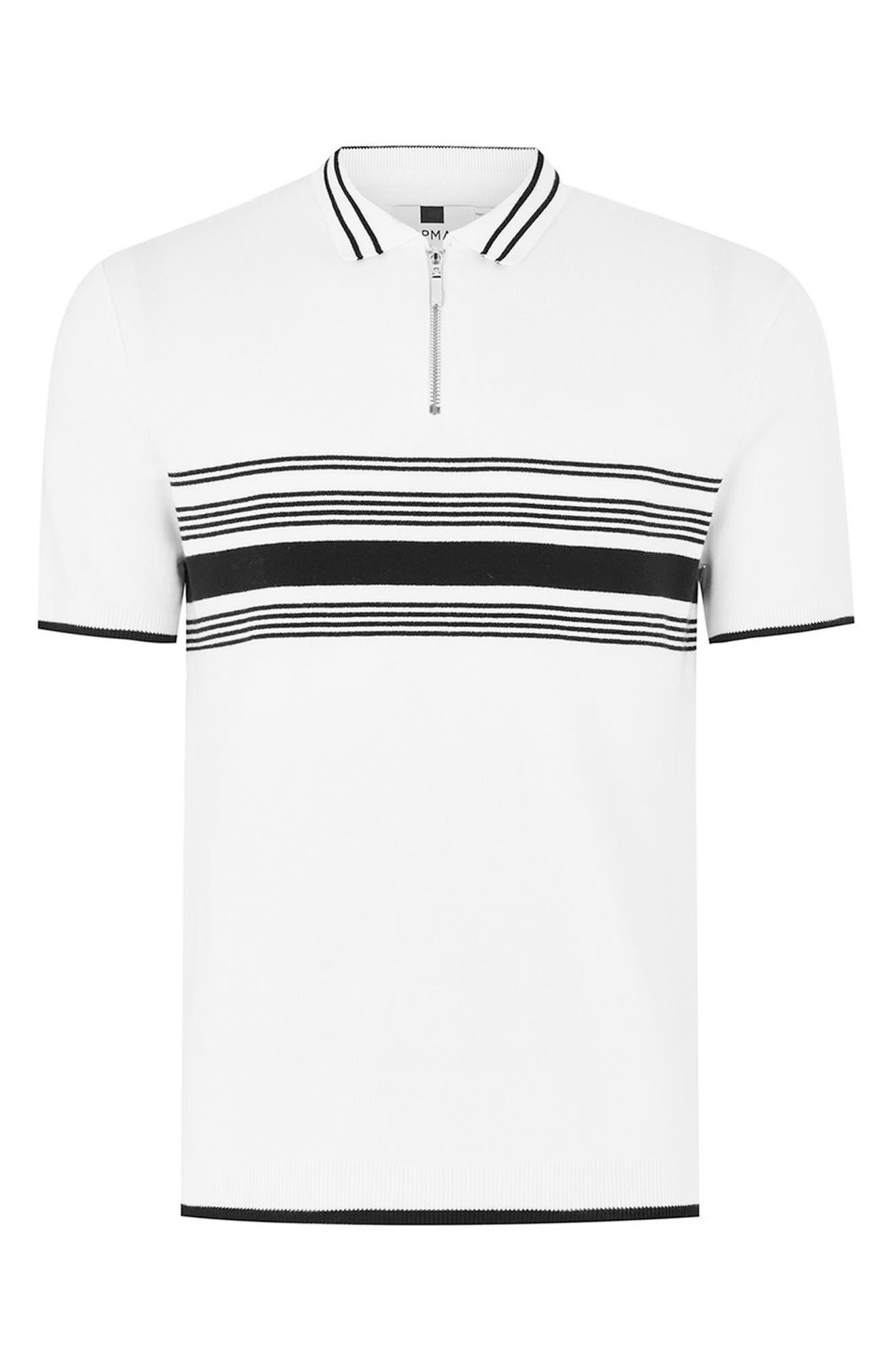 Slim Fit Stripe Knit Polo,                             Alternate thumbnail 4, color,                             White Multi