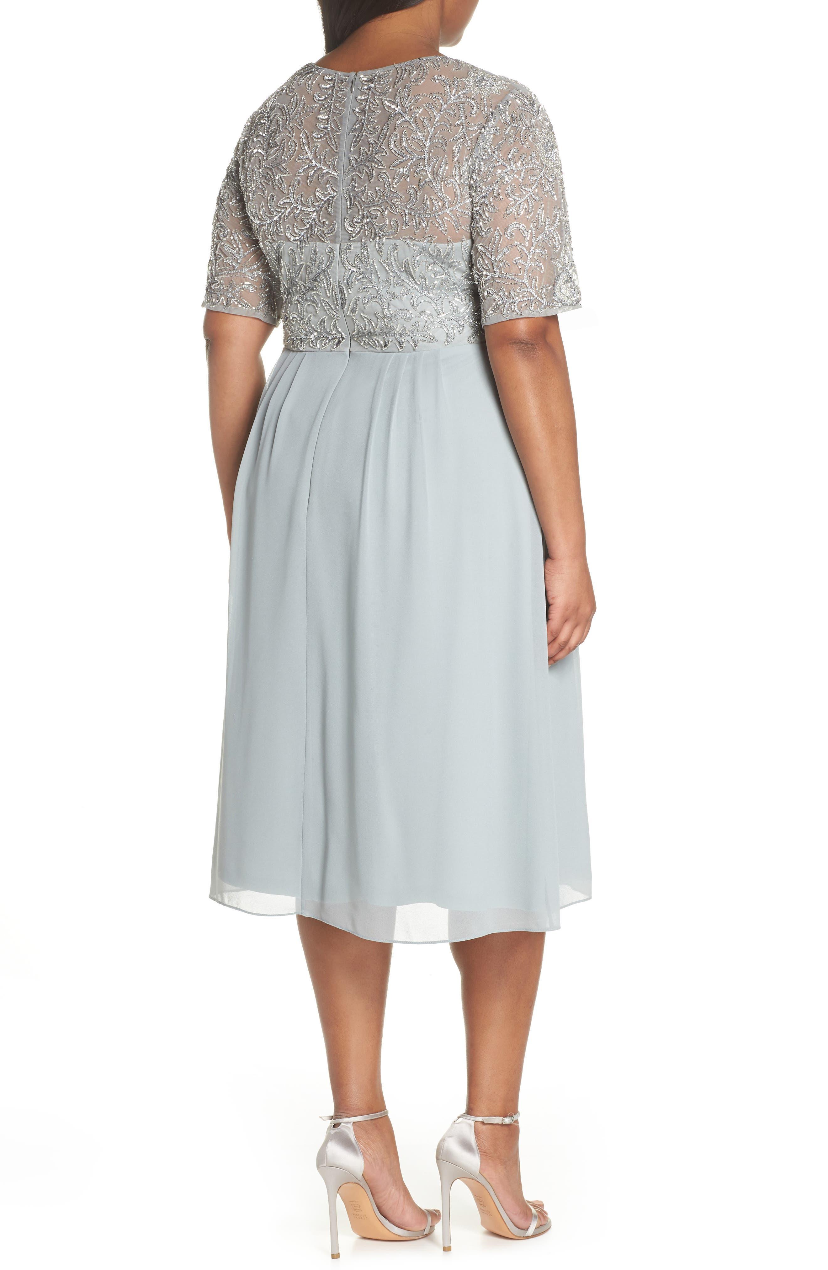 Beaded Midi Dress,                             Alternate thumbnail 2, color,                             Blue Mist