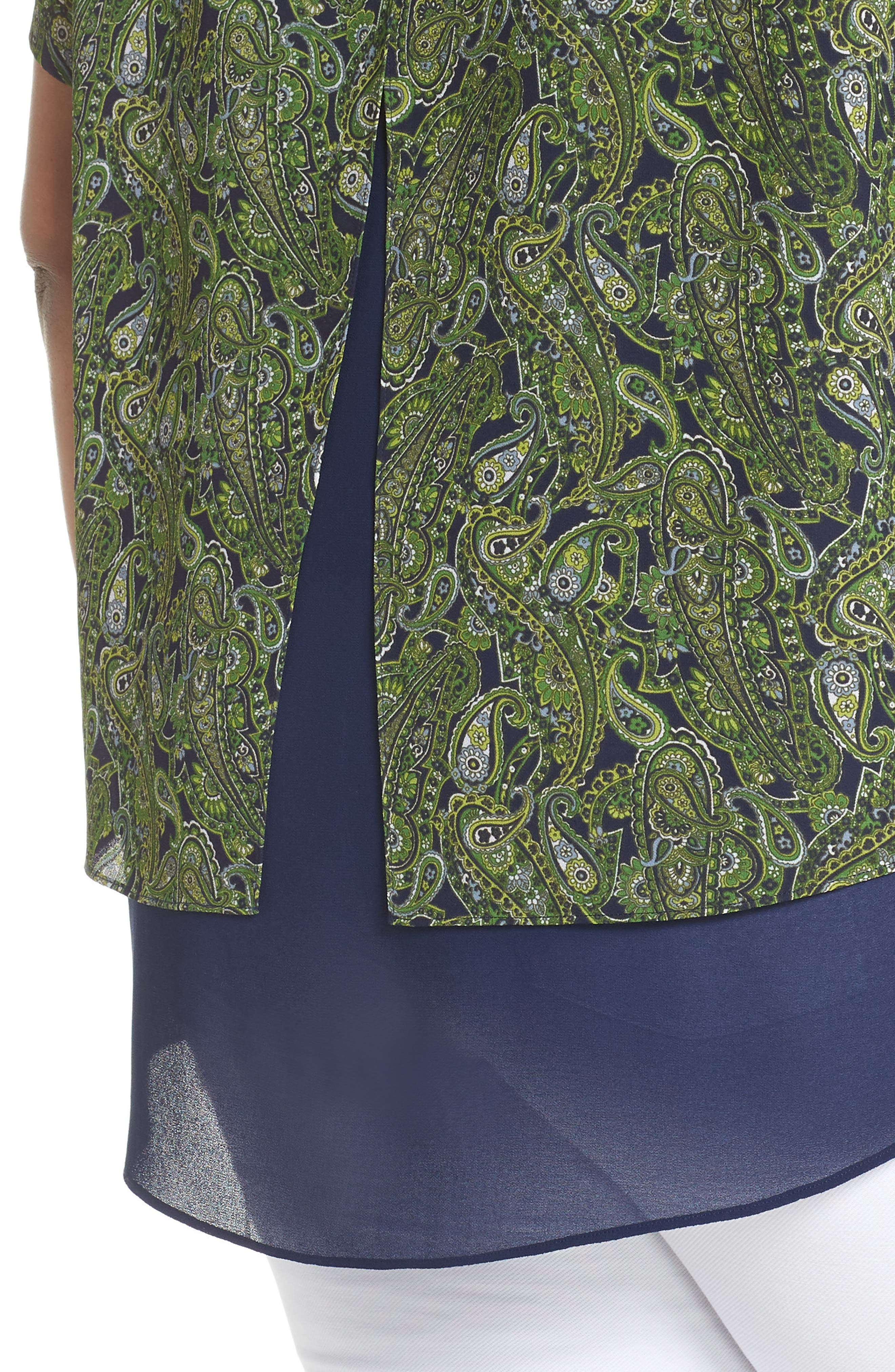 Paisley Paradise Layered Top,                             Alternate thumbnail 4, color,                             True Navy/ Green Apple Mu