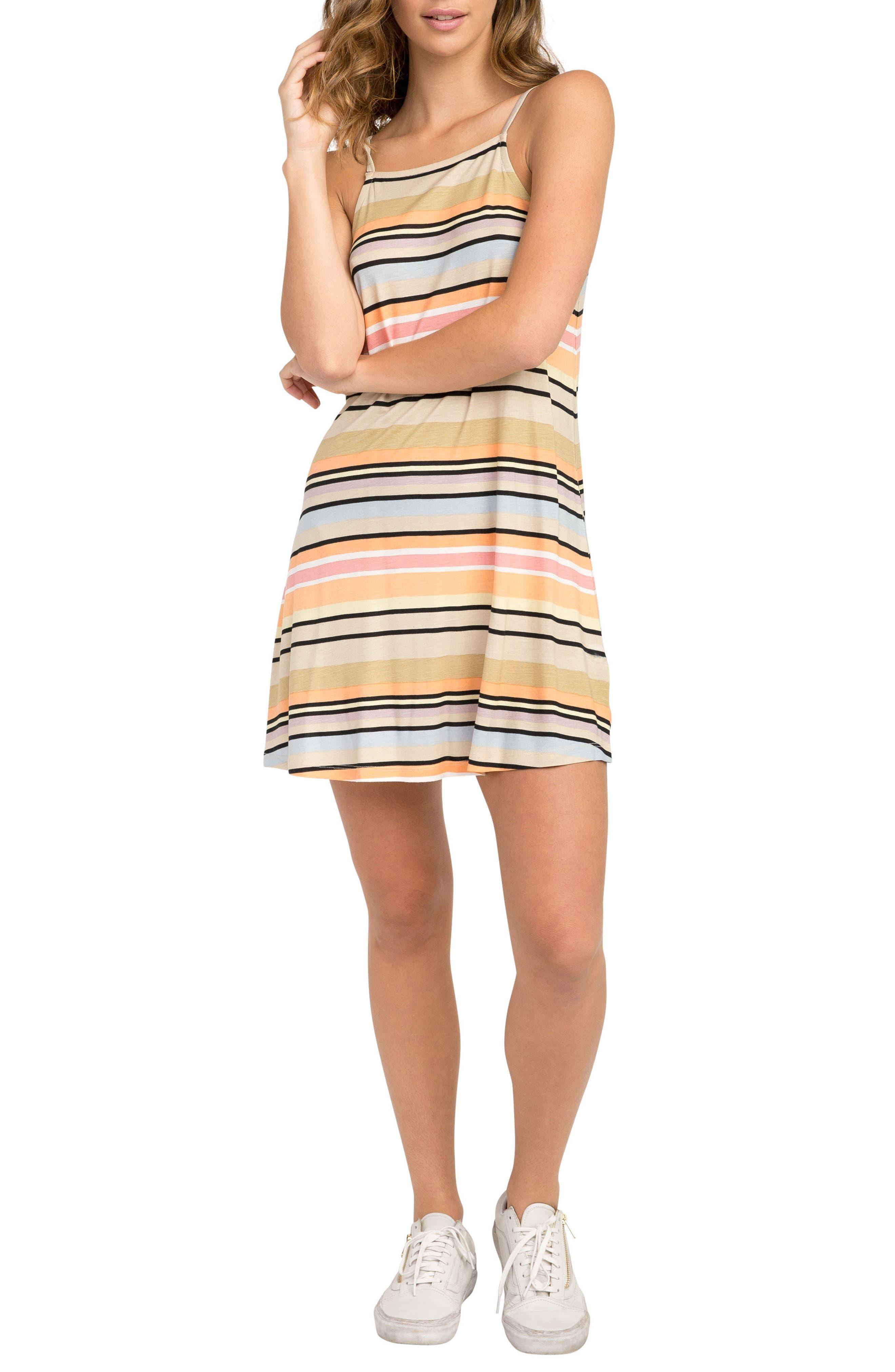Hyacinth Stripe Sundress,                             Main thumbnail 1, color,                             Clay