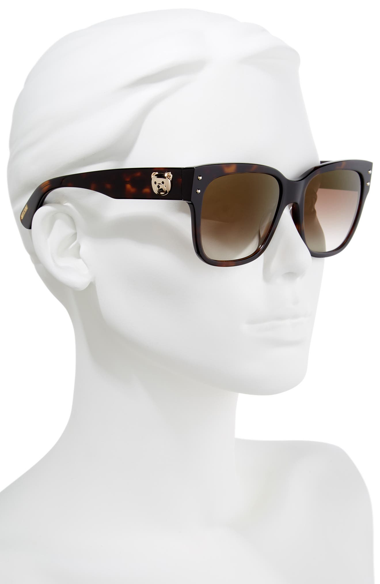 56mm Gradient Lens Sunglasses,                             Alternate thumbnail 2, color,                             Dark Havana