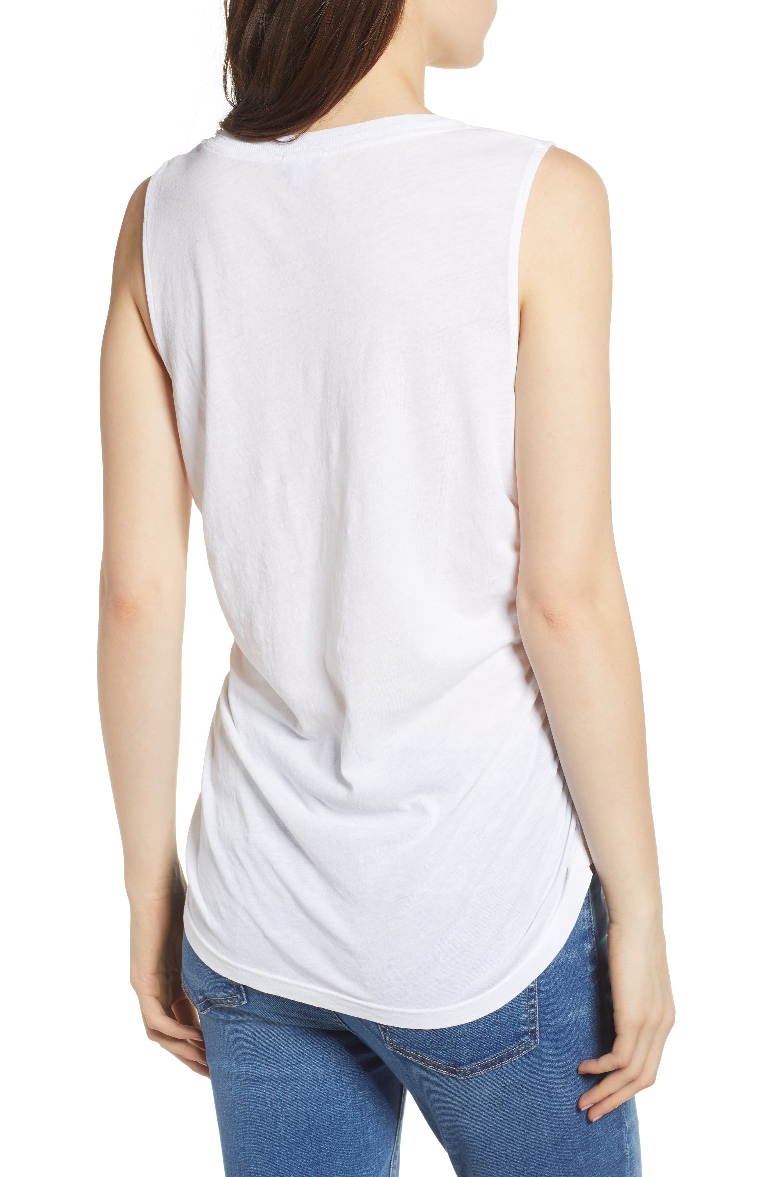 Ruched Supima<sup>®</sup> Cotton Tank,                             Alternate thumbnail 2, color,                             Paper