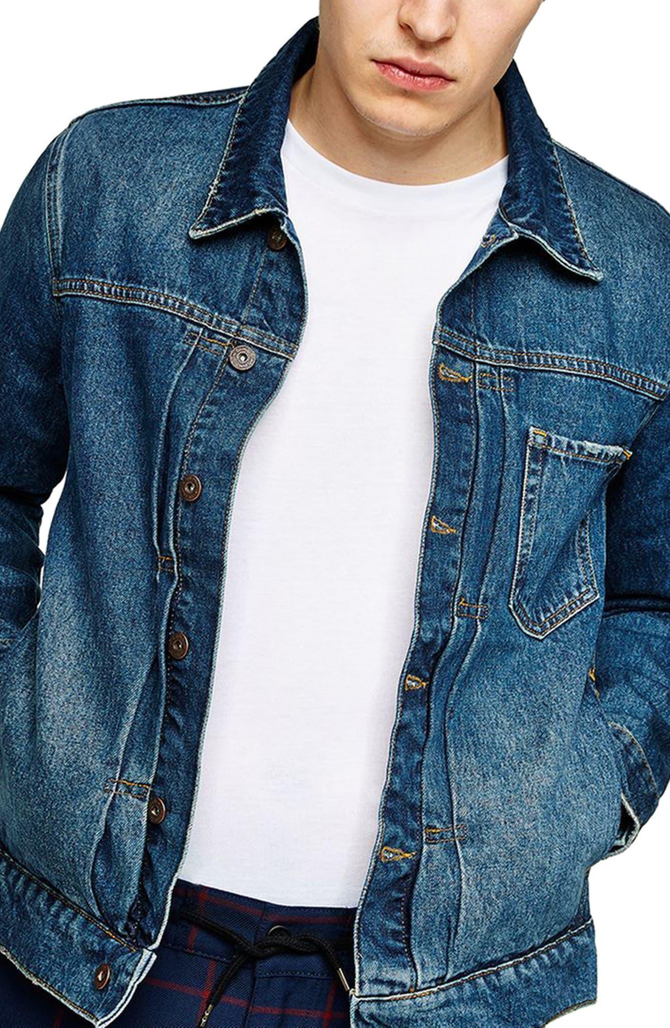 Cinch Back Denim Jacket,                         Main,                         color, Mid Blue