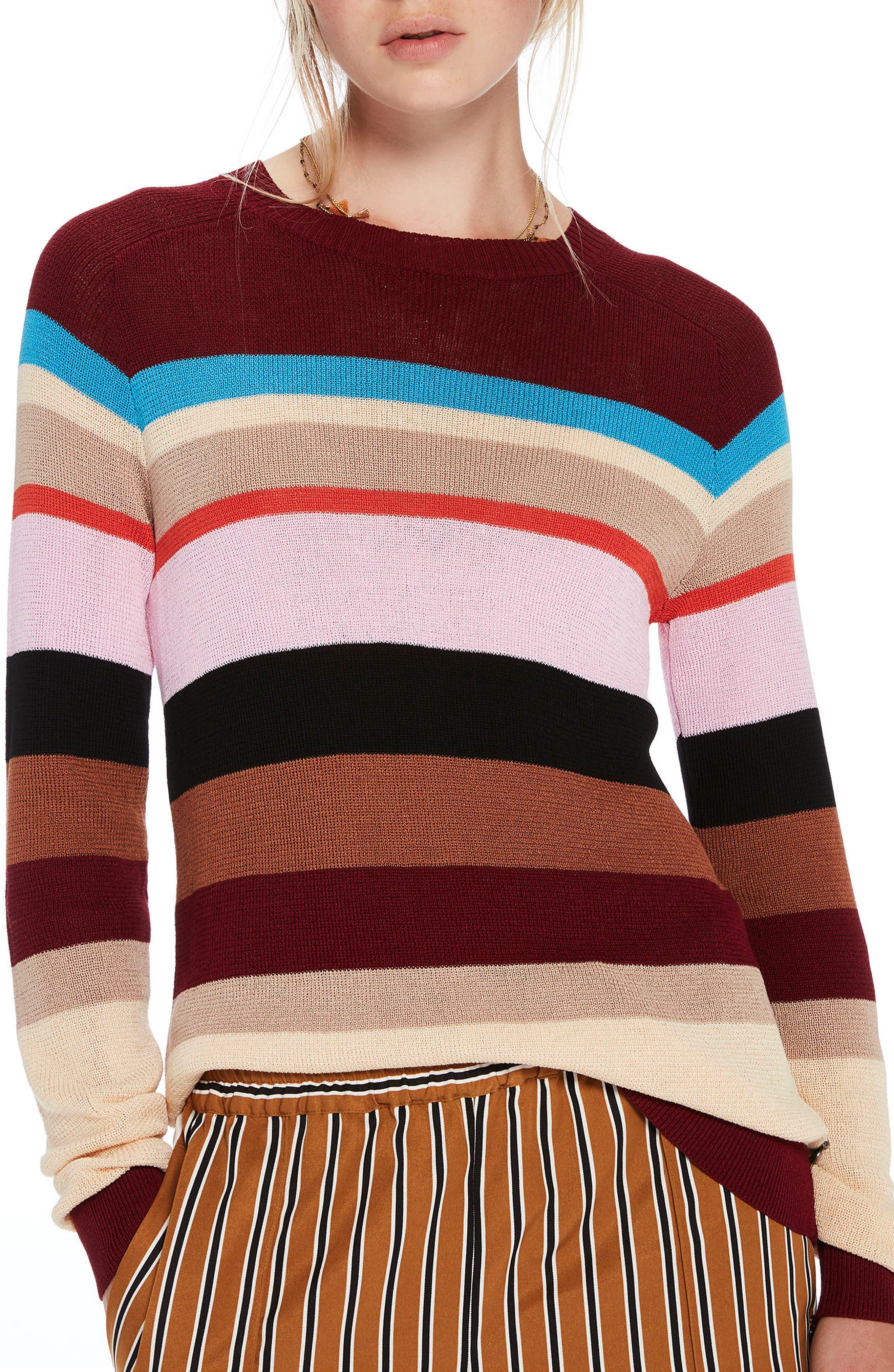 Colorful Stripe Sweater,                         Main,                         color, Combo A
