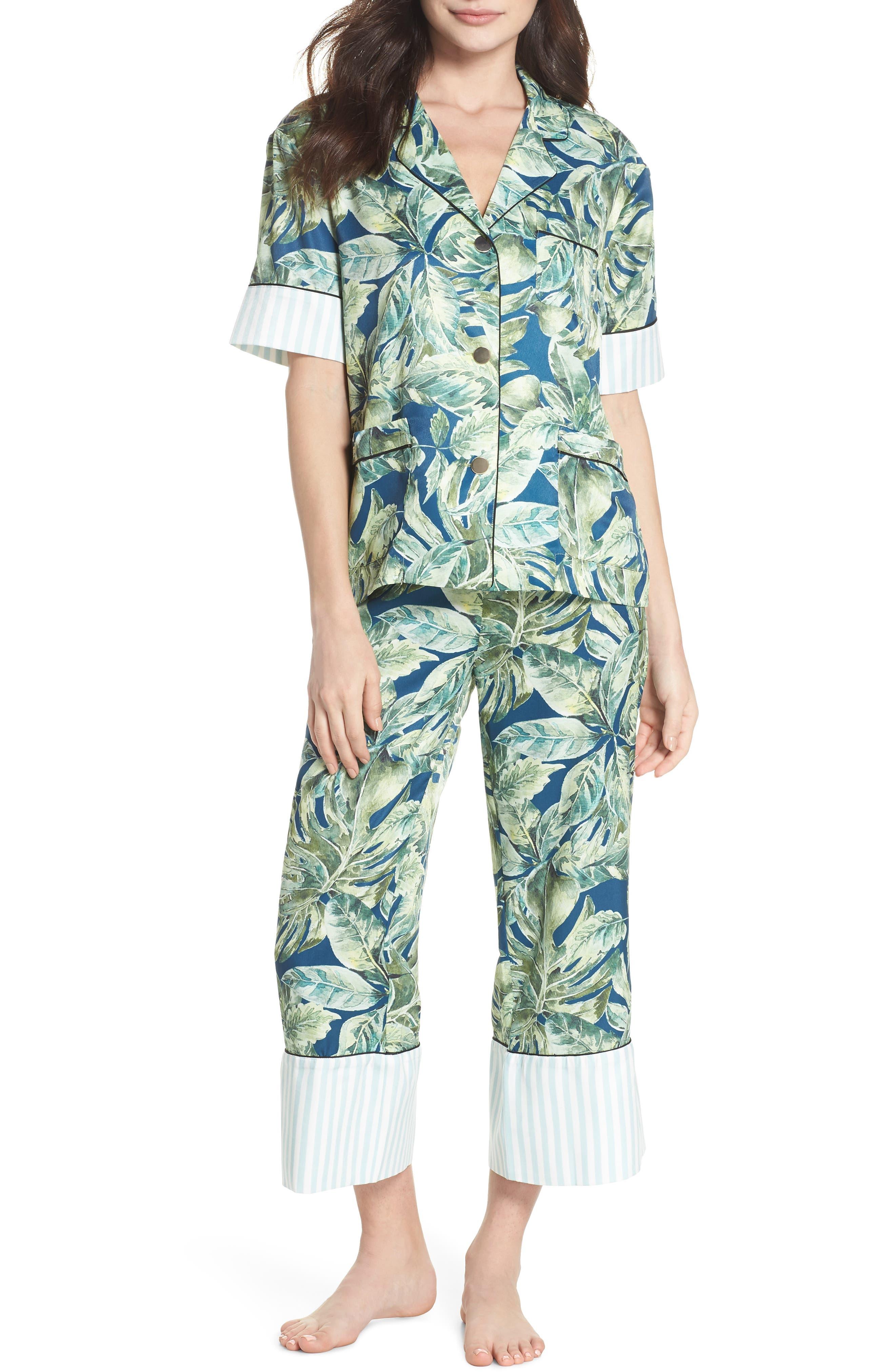 Cropped Pajamas,                             Main thumbnail 1, color,                             Pacific Palm