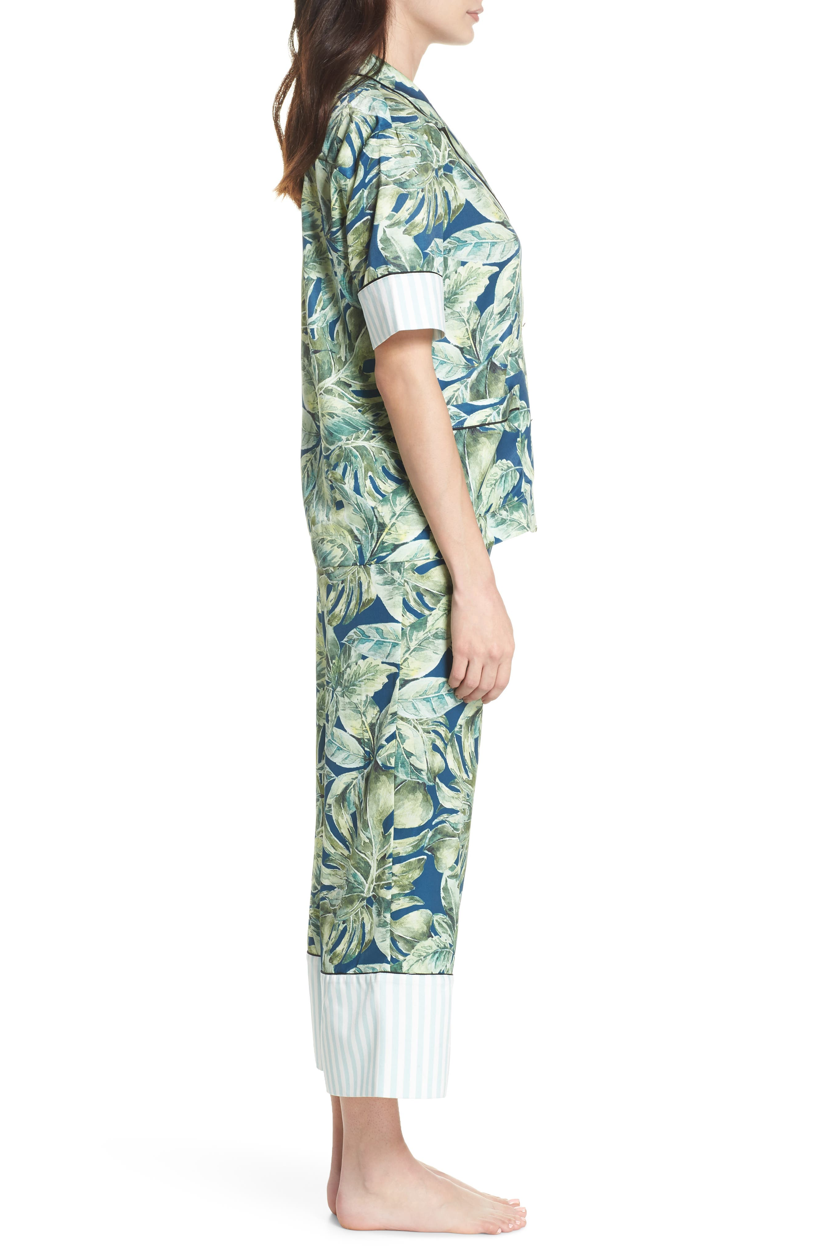 Cropped Pajamas,                             Alternate thumbnail 3, color,                             Pacific Palm