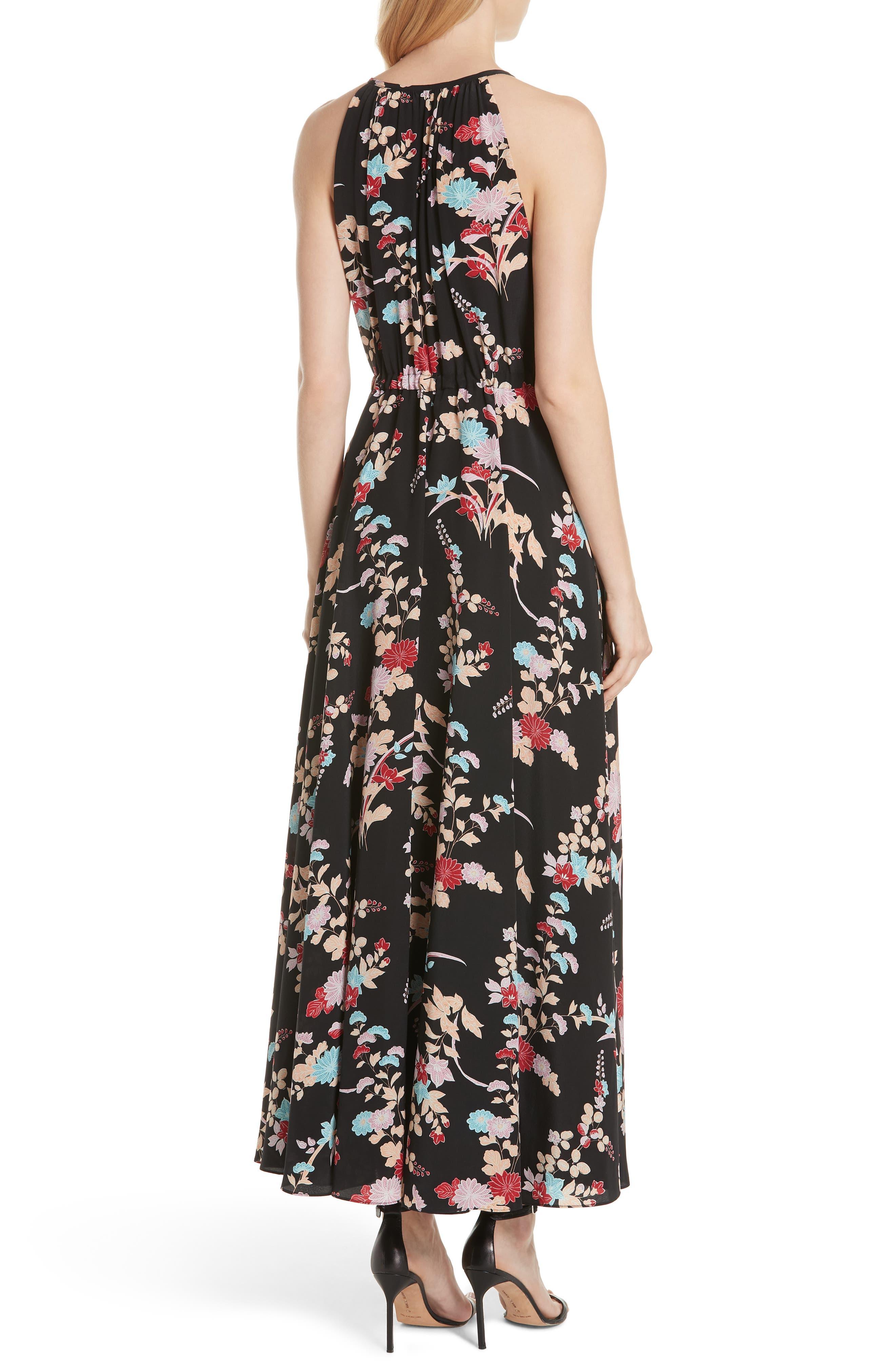 Floral Keyhole Tie Waist Silk Maxi Dress,                             Alternate thumbnail 2, color,                             Walden Black