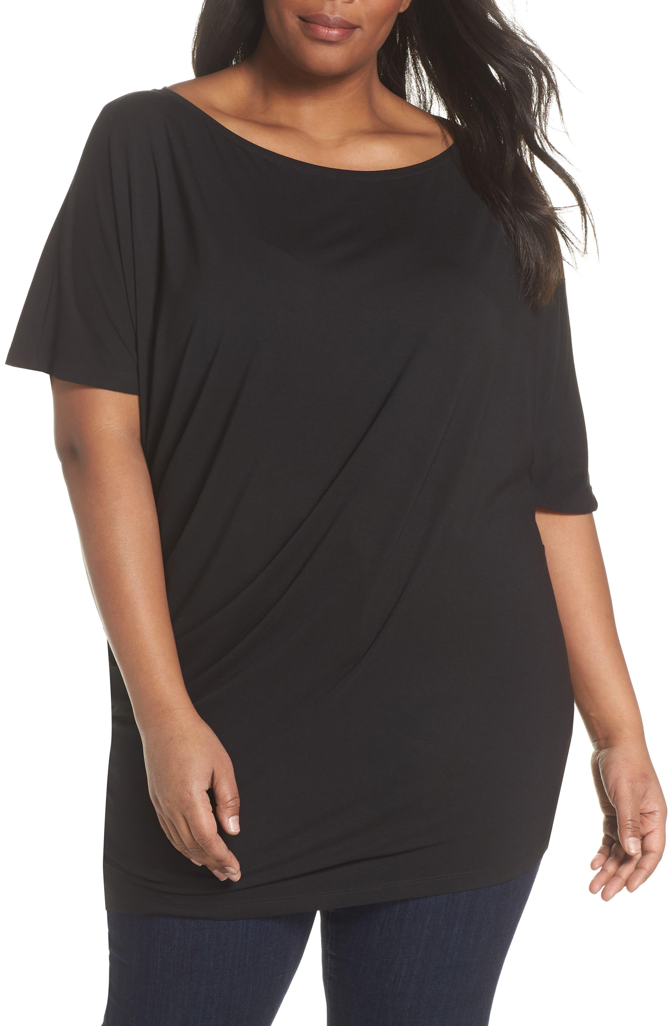 Asymmetrical Tunic Top,                         Main,                         color, Black