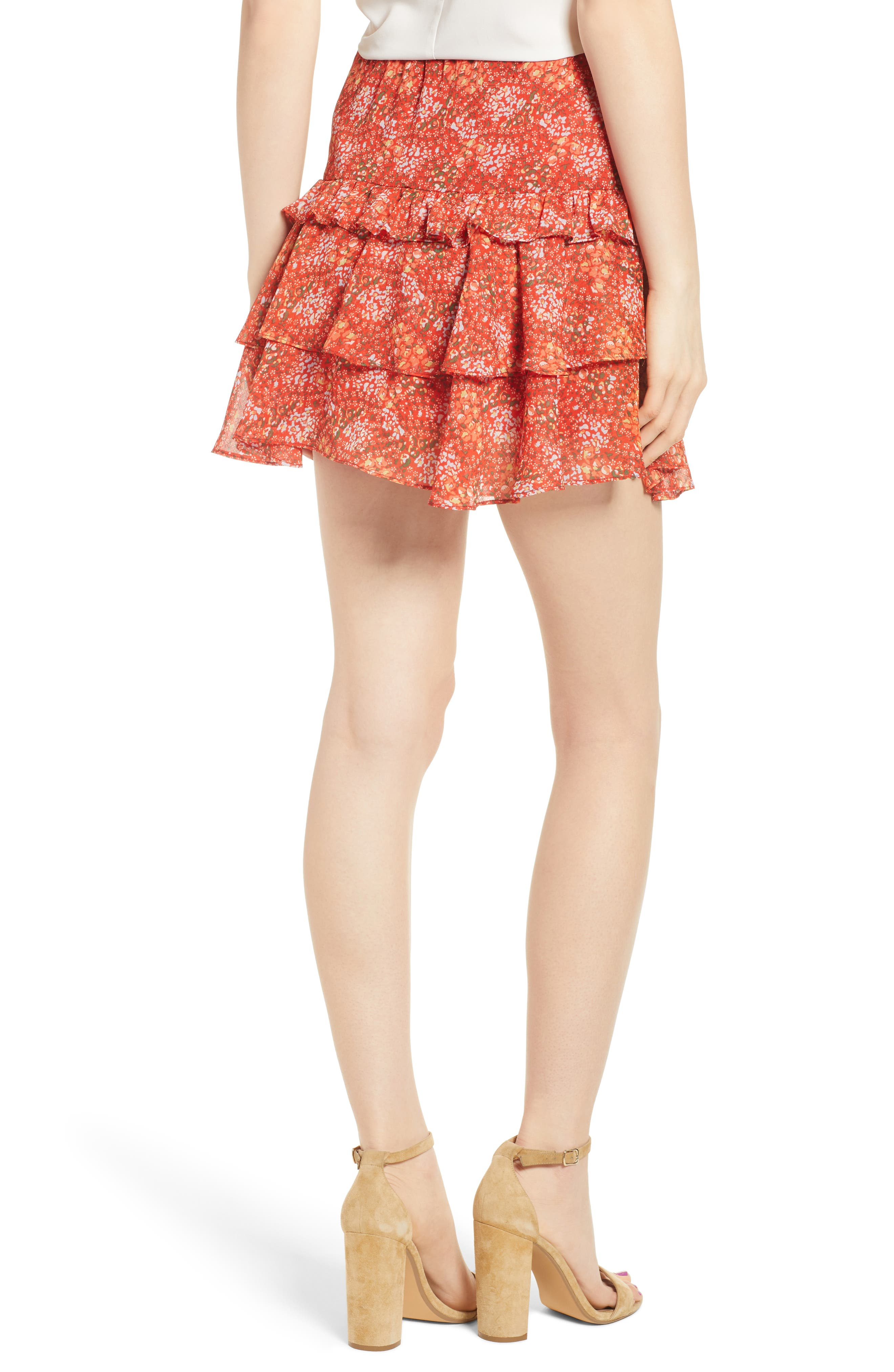 Phoebe Floral Tiered Miniskirt,                             Alternate thumbnail 2, color,                             Red Multi