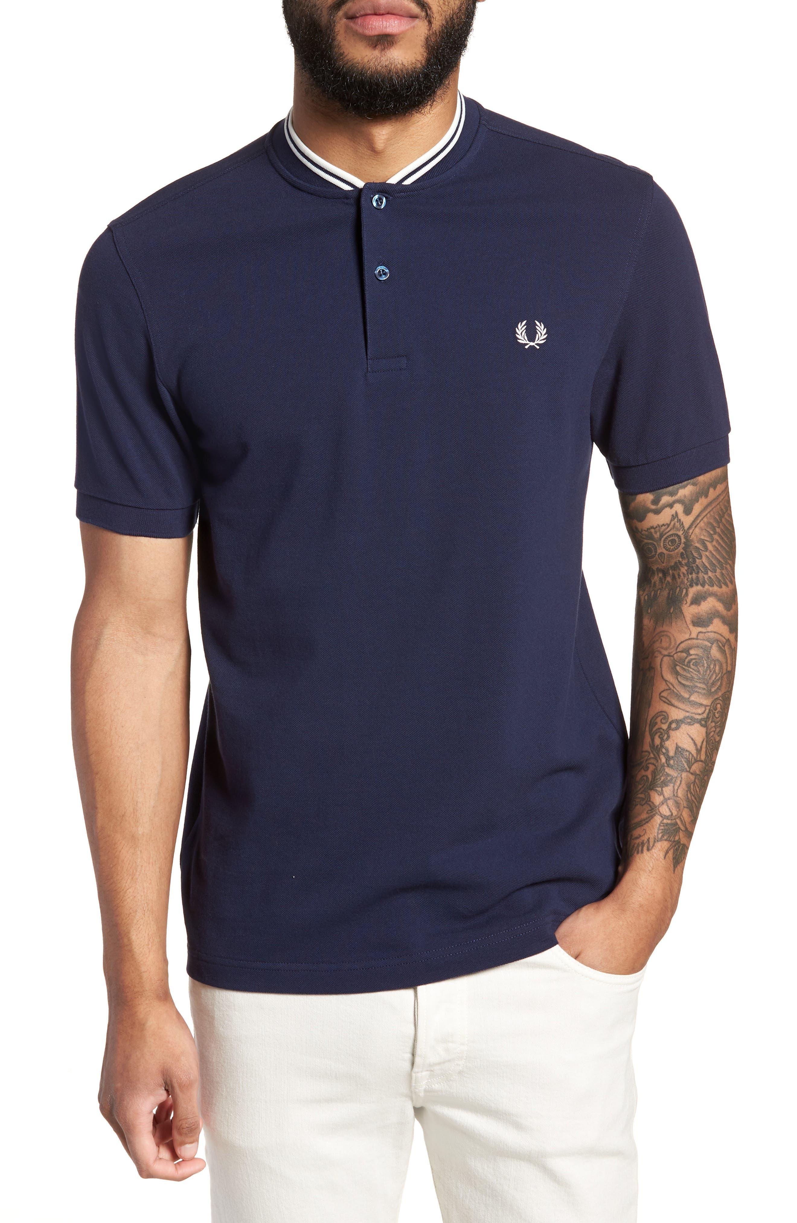Bomber Collar Piqué Shirt,                             Main thumbnail 1, color,                             Carbon Blue