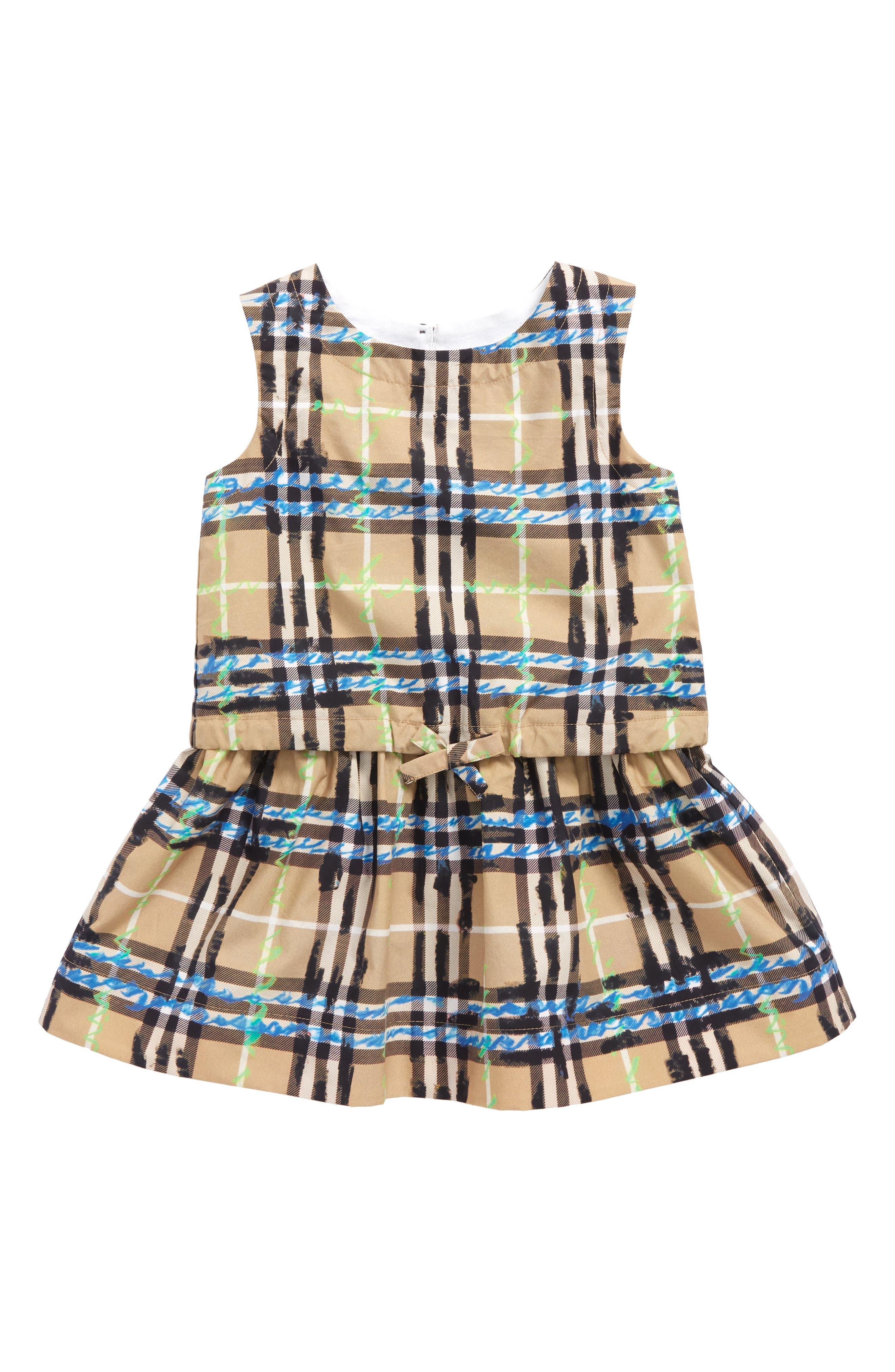 Mabel Check Dress,                             Main thumbnail 1, color,                             Bright Blue