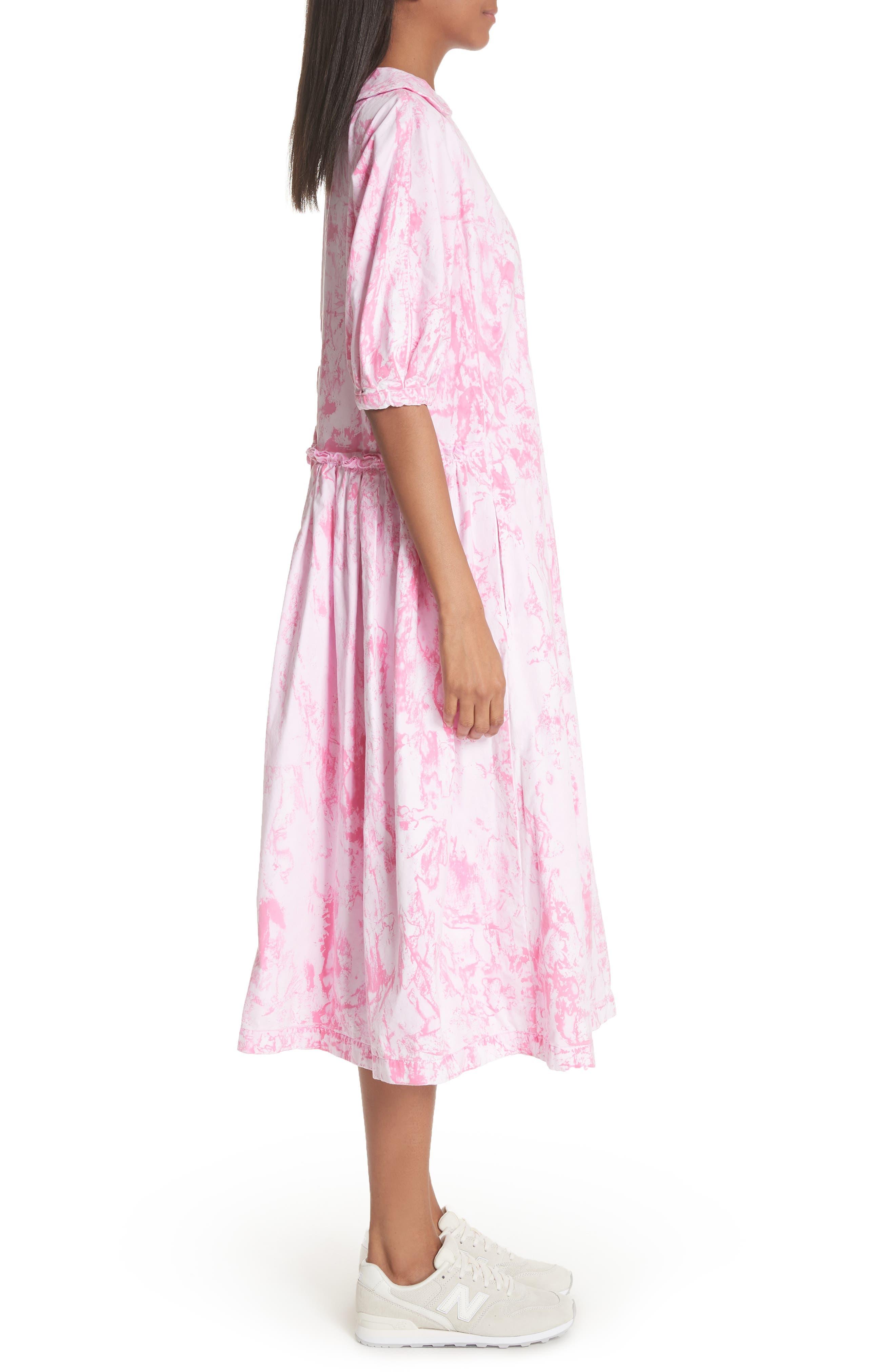 Tie Dye Midi Dress,                             Alternate thumbnail 3, color,                             Pink