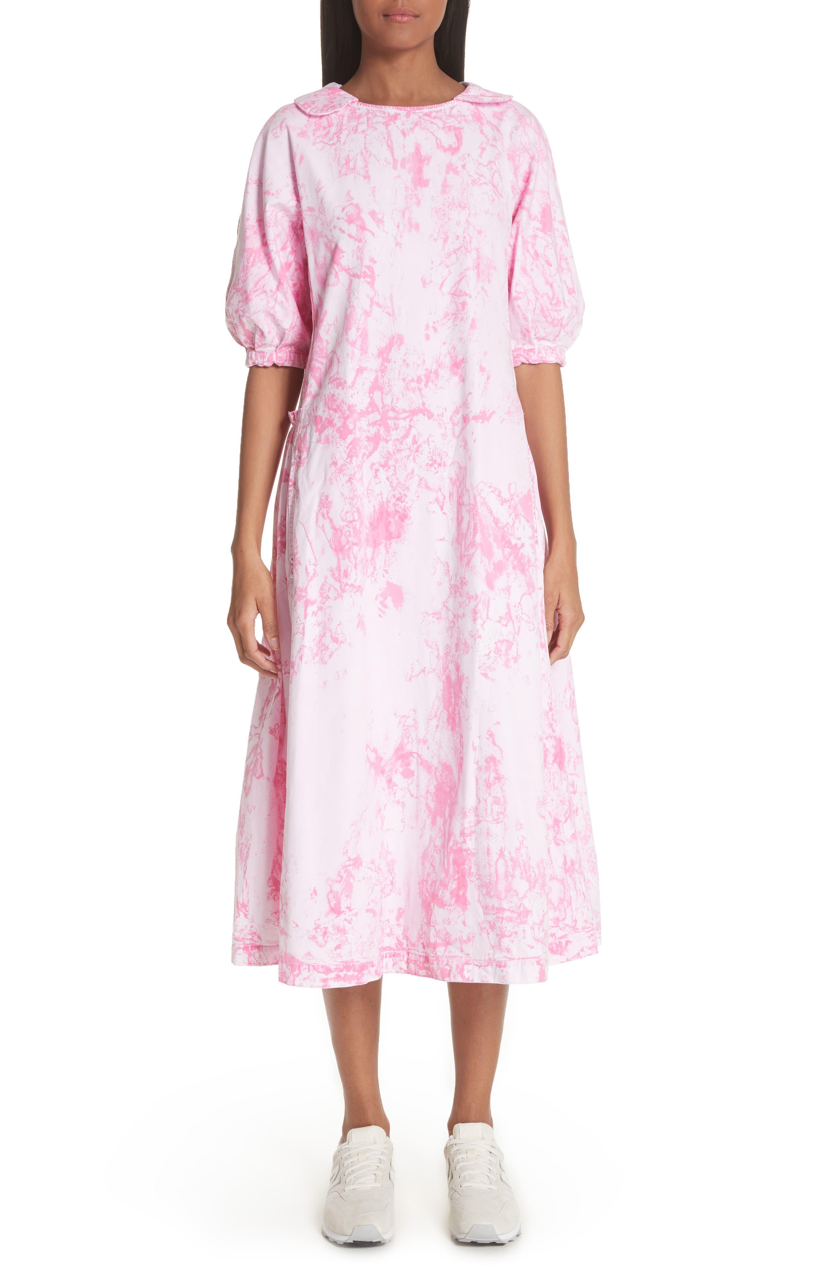 Tie Dye Midi Dress,                             Main thumbnail 1, color,                             Pink