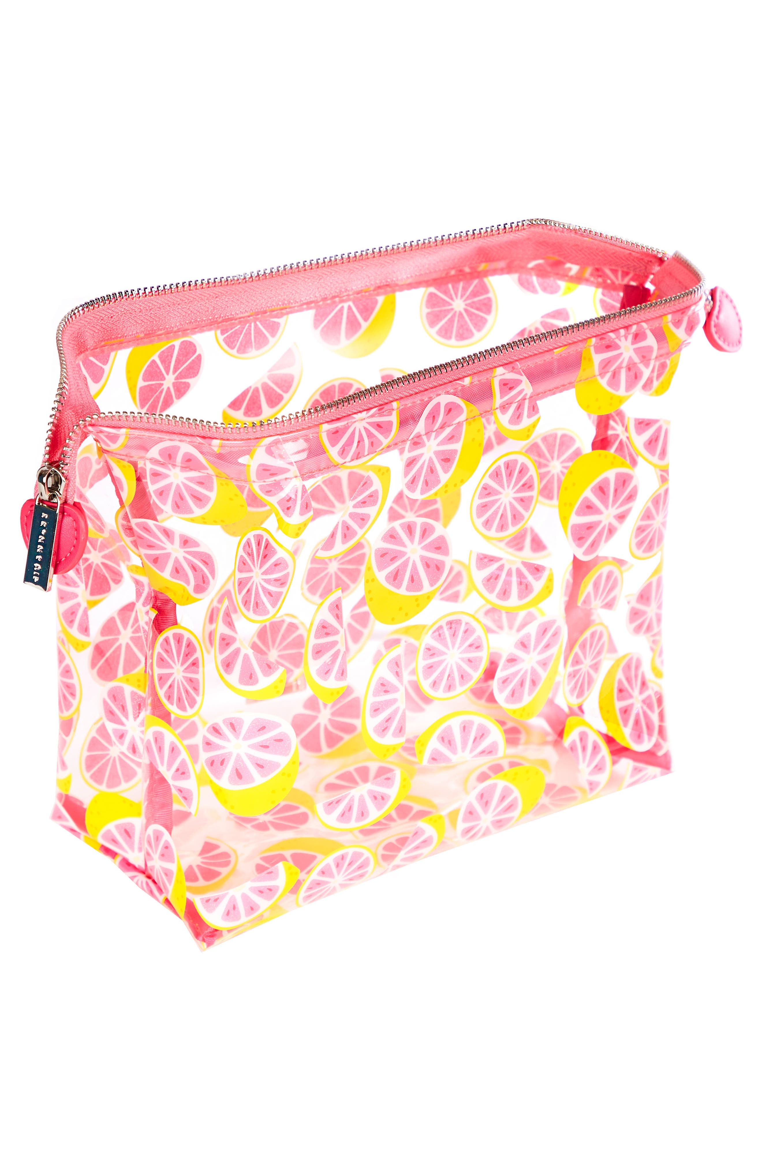 Skinny Dip Glitter Grapefruit Cosmetics Case,                             Alternate thumbnail 2, color,                             No Color
