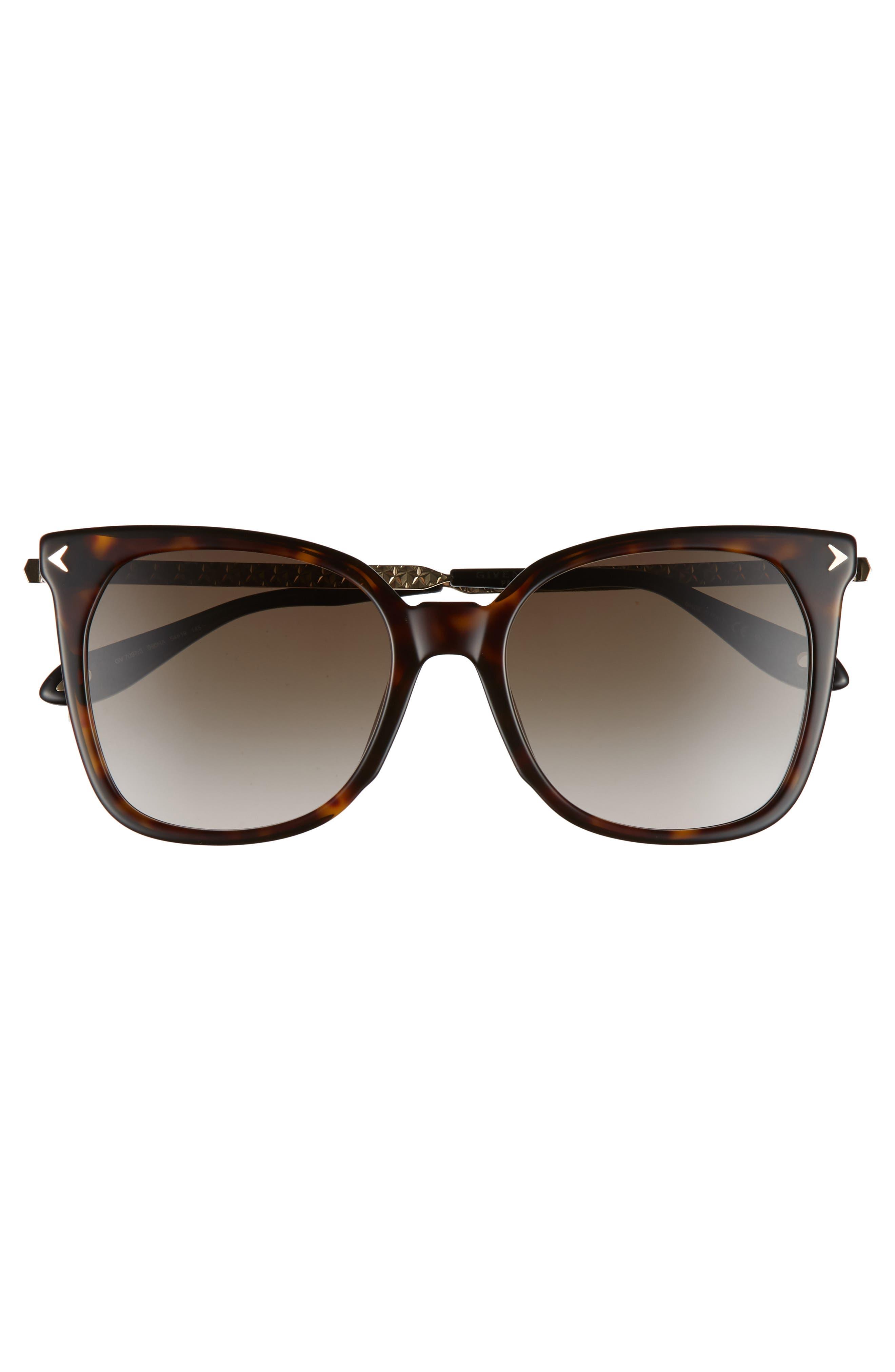 54mm Square Sunglasses,                             Alternate thumbnail 3, color,                             Dark Havana