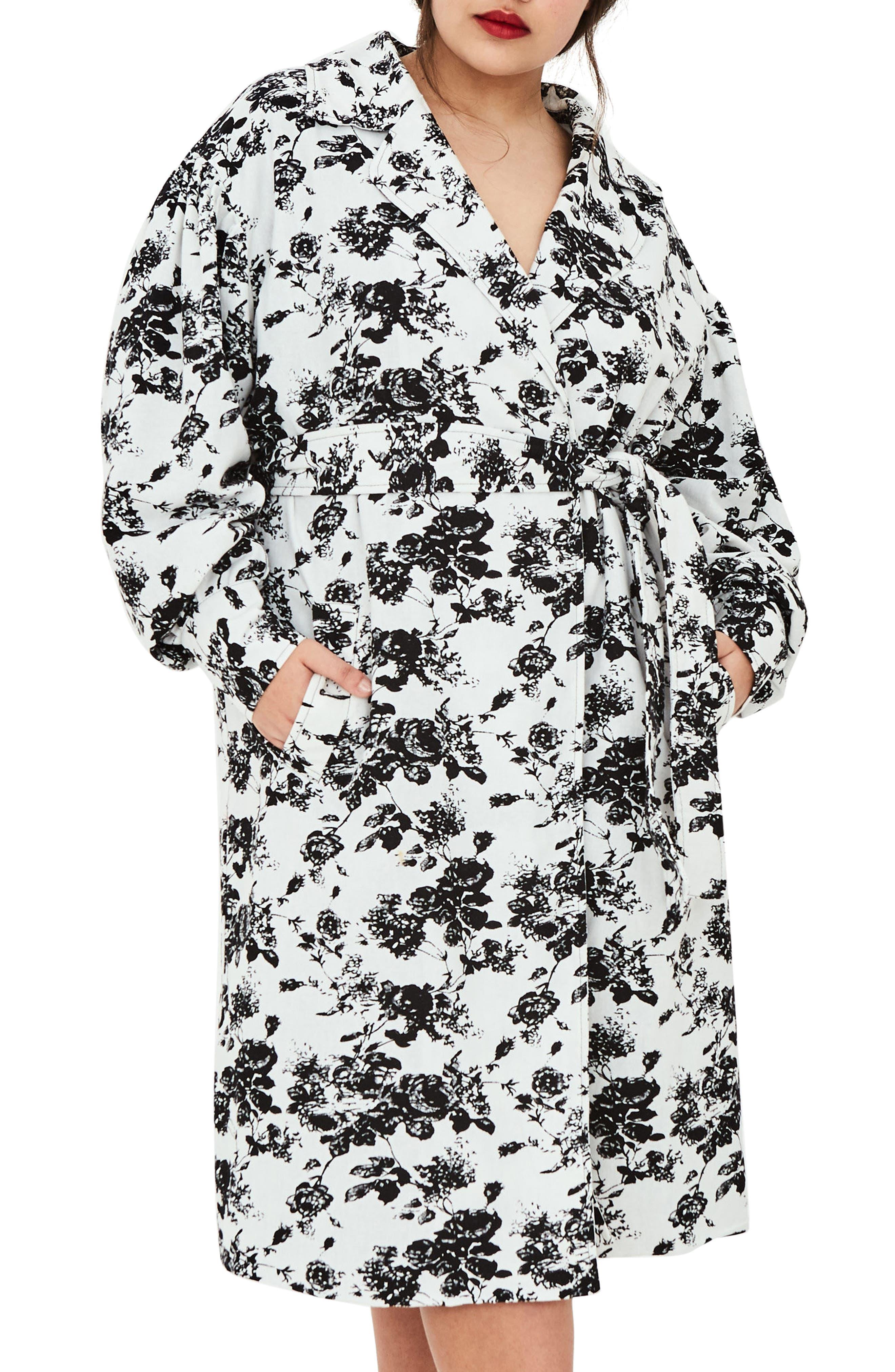 ELVI The Eave Floral Trench Coat (Regular & Plus Size)