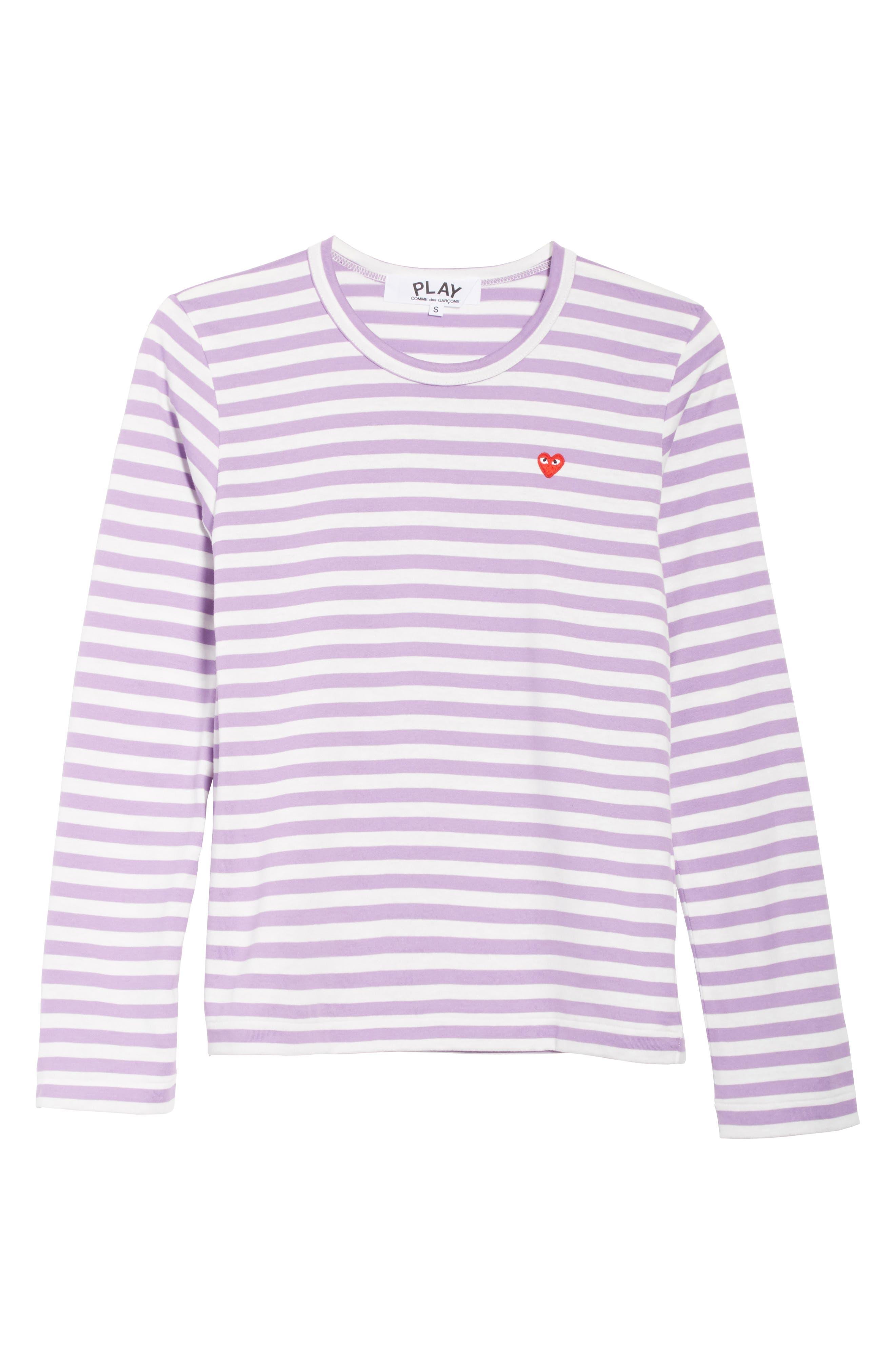 Comme des Garçons PLAY Stripe Tee,                             Alternate thumbnail 6, color,                             Purple