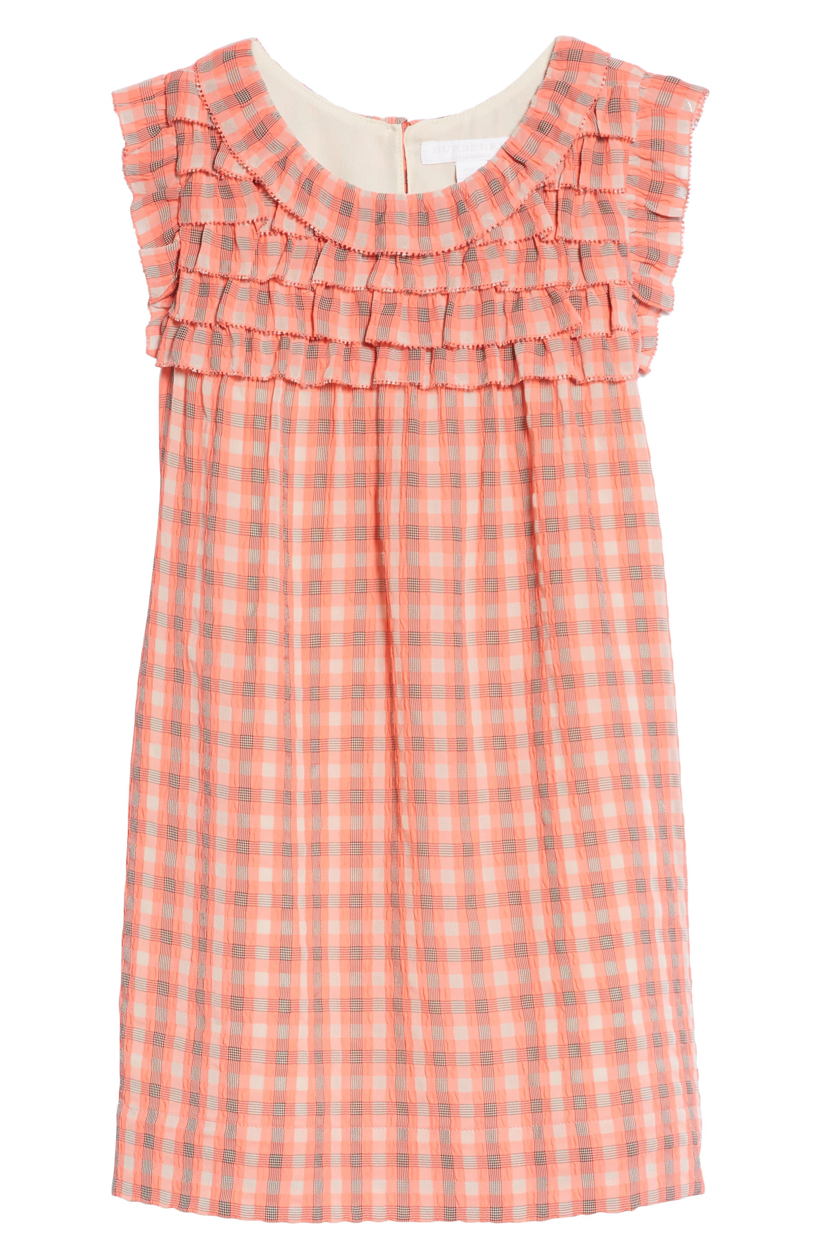 Magnoly Check Ruffle Dress,                         Main,                         color, Bright Coral Pink
