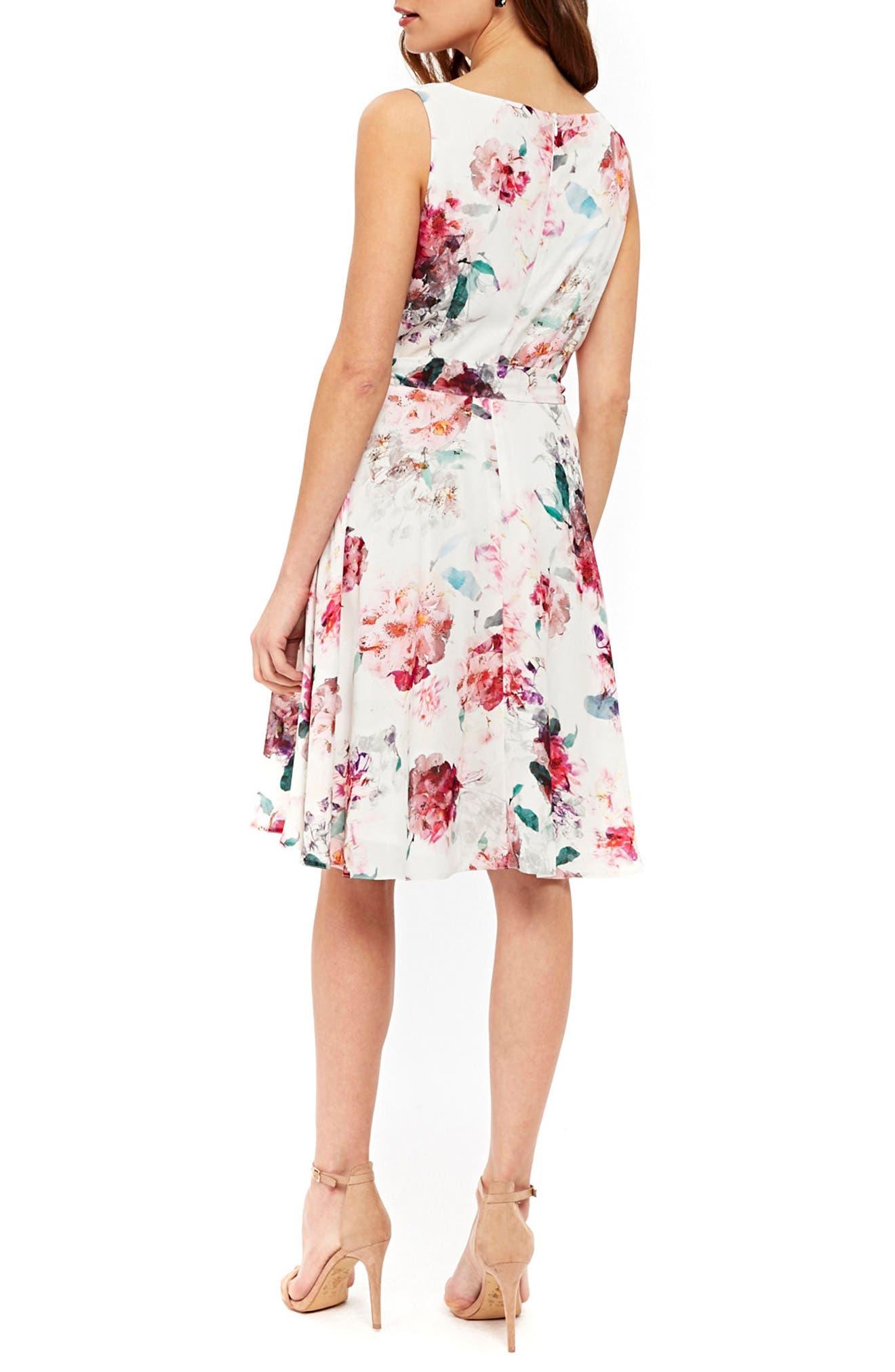 Pretty Bloom Fit & Flare Dress,                             Alternate thumbnail 2, color,                             Cream