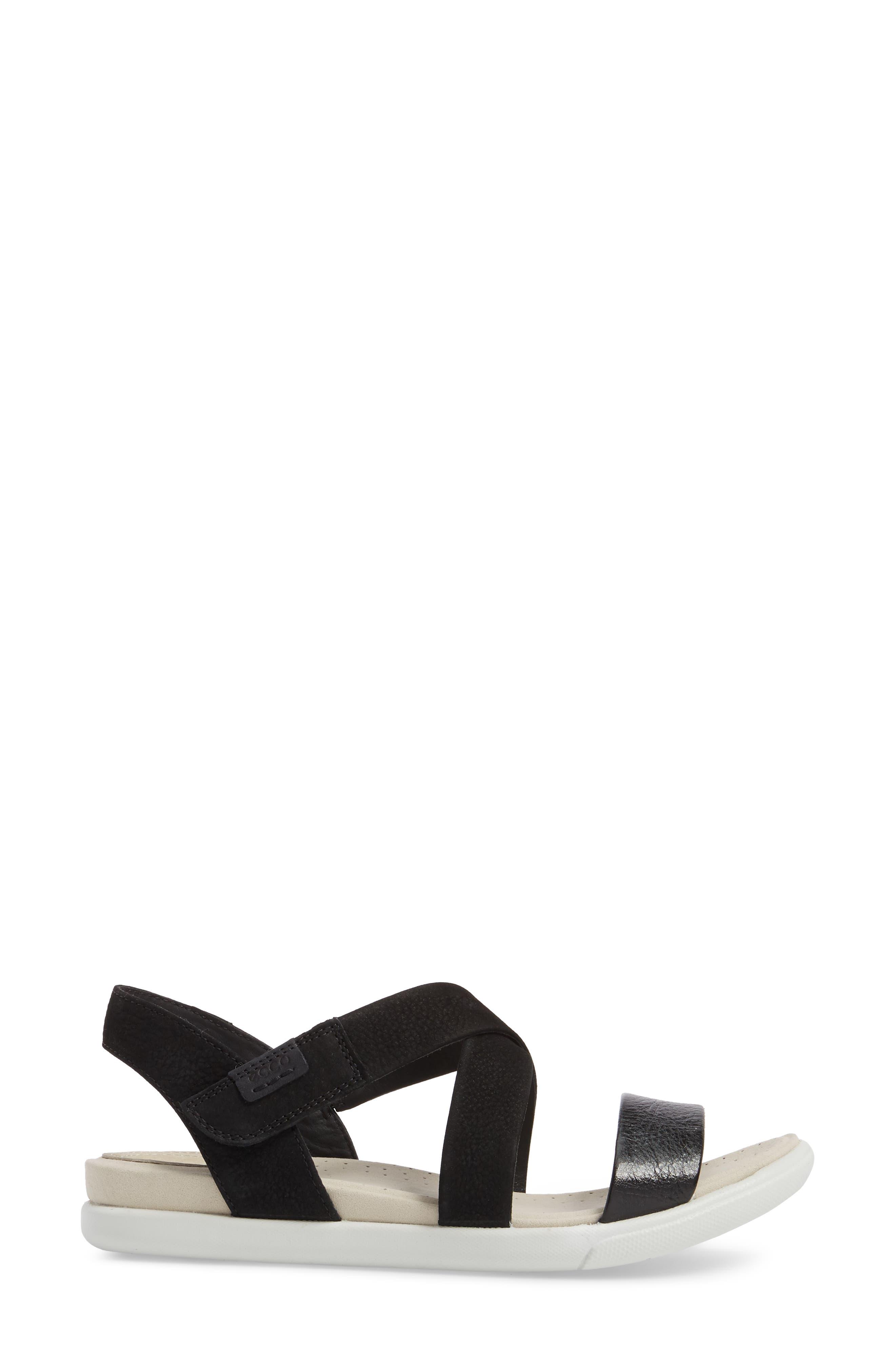 Damara Cross-Strap Sandal,                             Alternate thumbnail 3, color,                             Black Leather