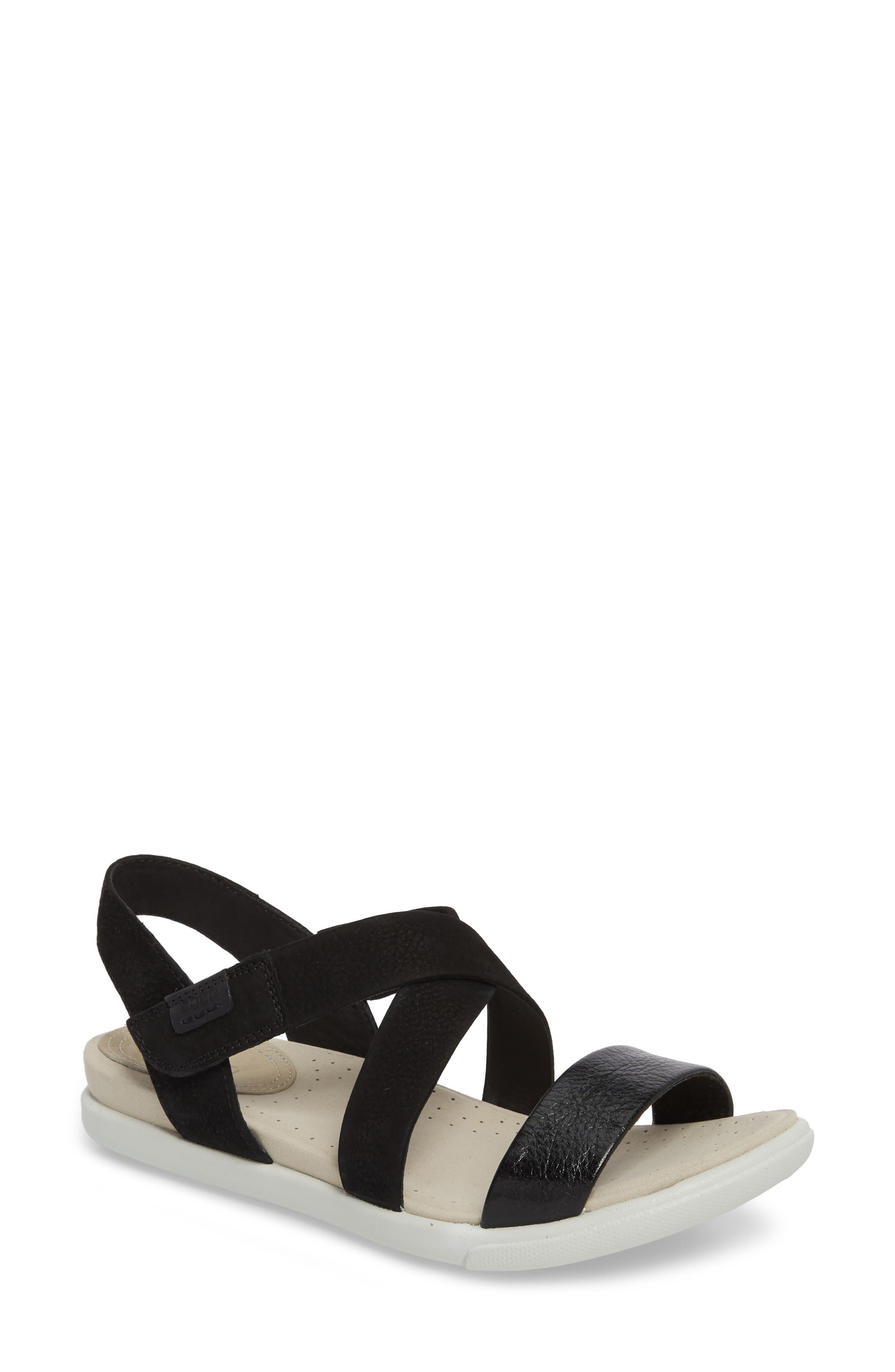 Damara Cross-Strap Sandal,                             Main thumbnail 1, color,                             Black Leather