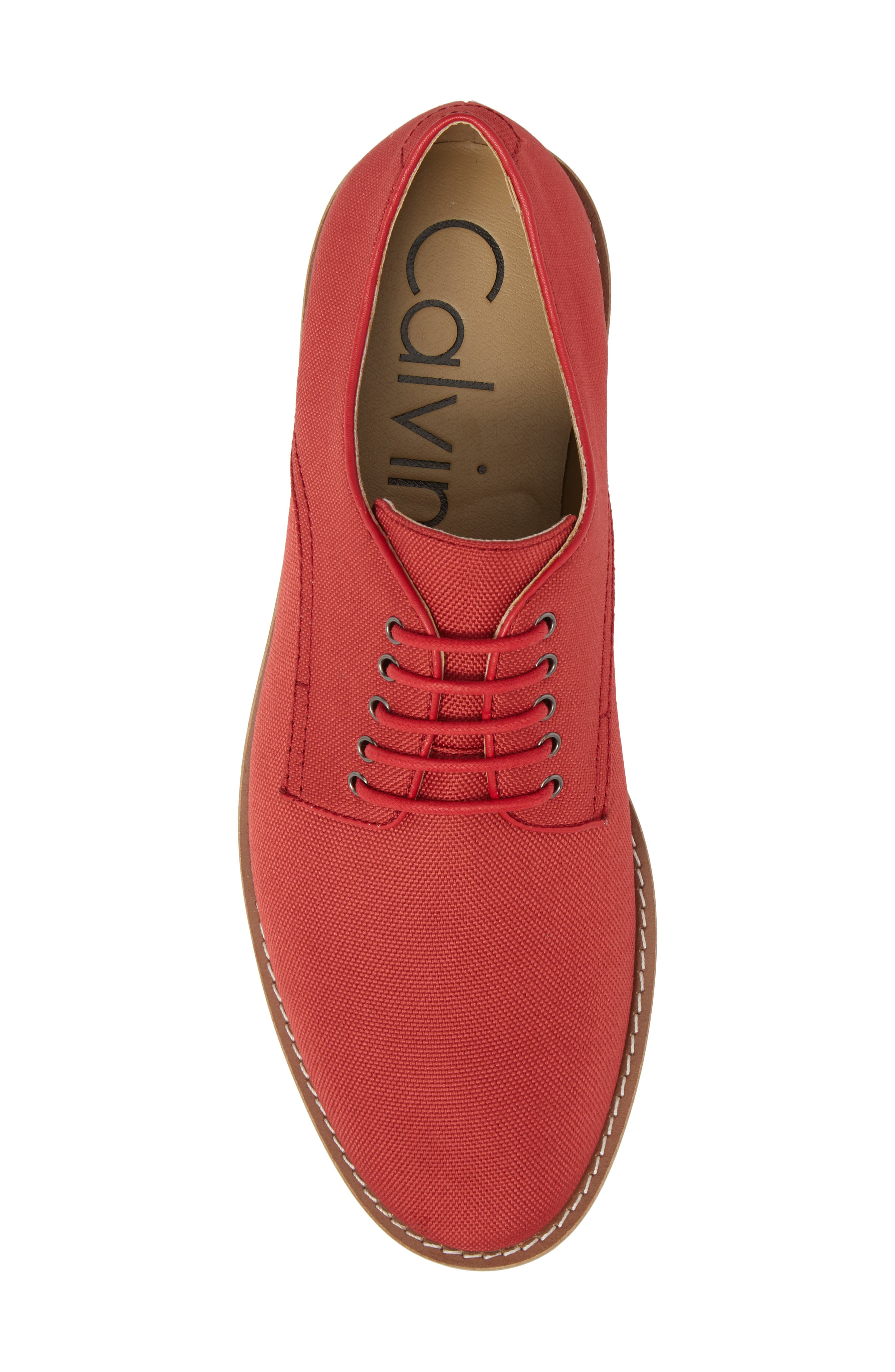 Atlee Plain Toe Derby,                             Alternate thumbnail 5, color,                             Brick Red Nylon