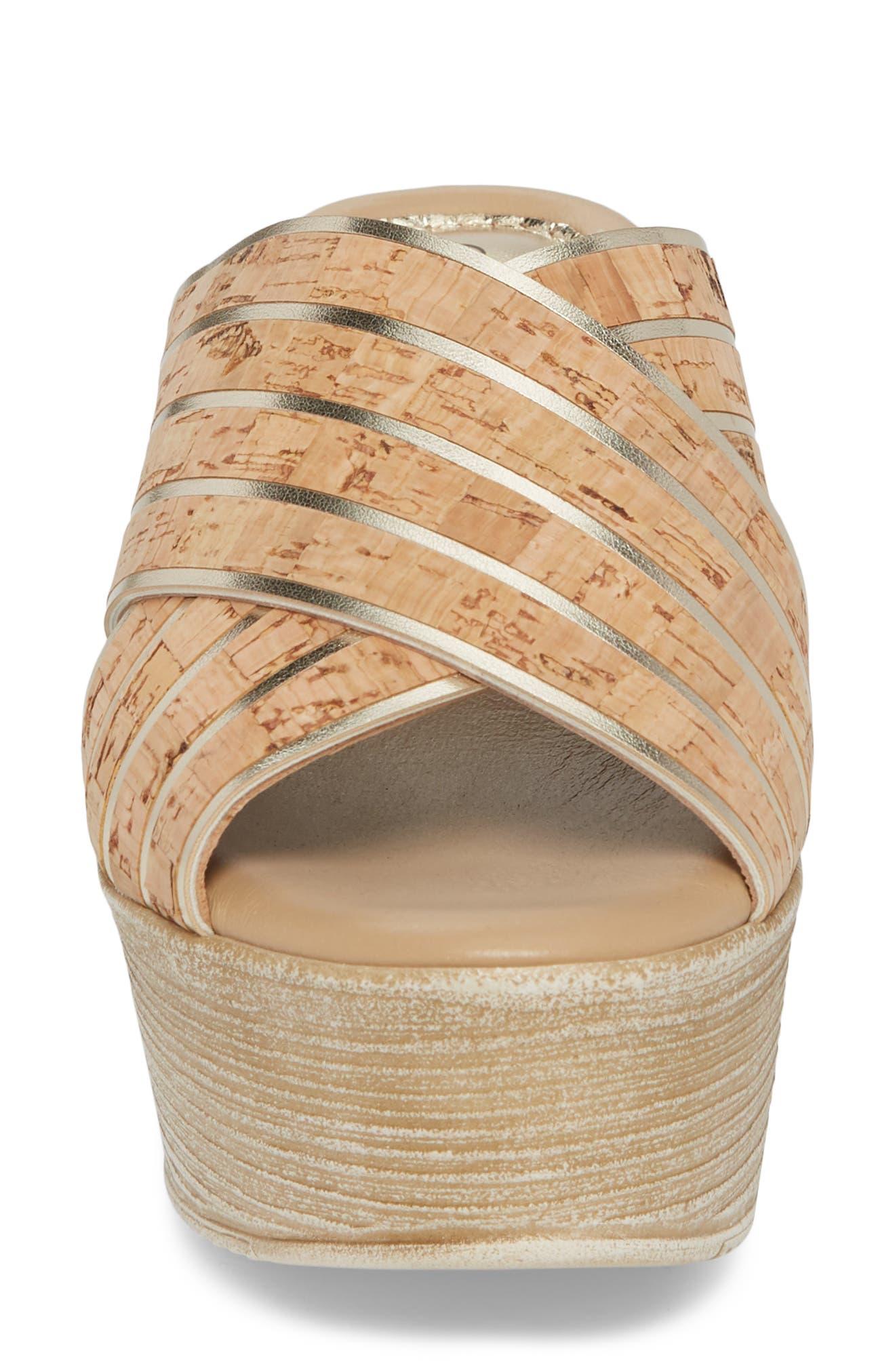 Jacey Platform Wedge Slide Sandal,                             Alternate thumbnail 4, color,                             Cork/ Gold