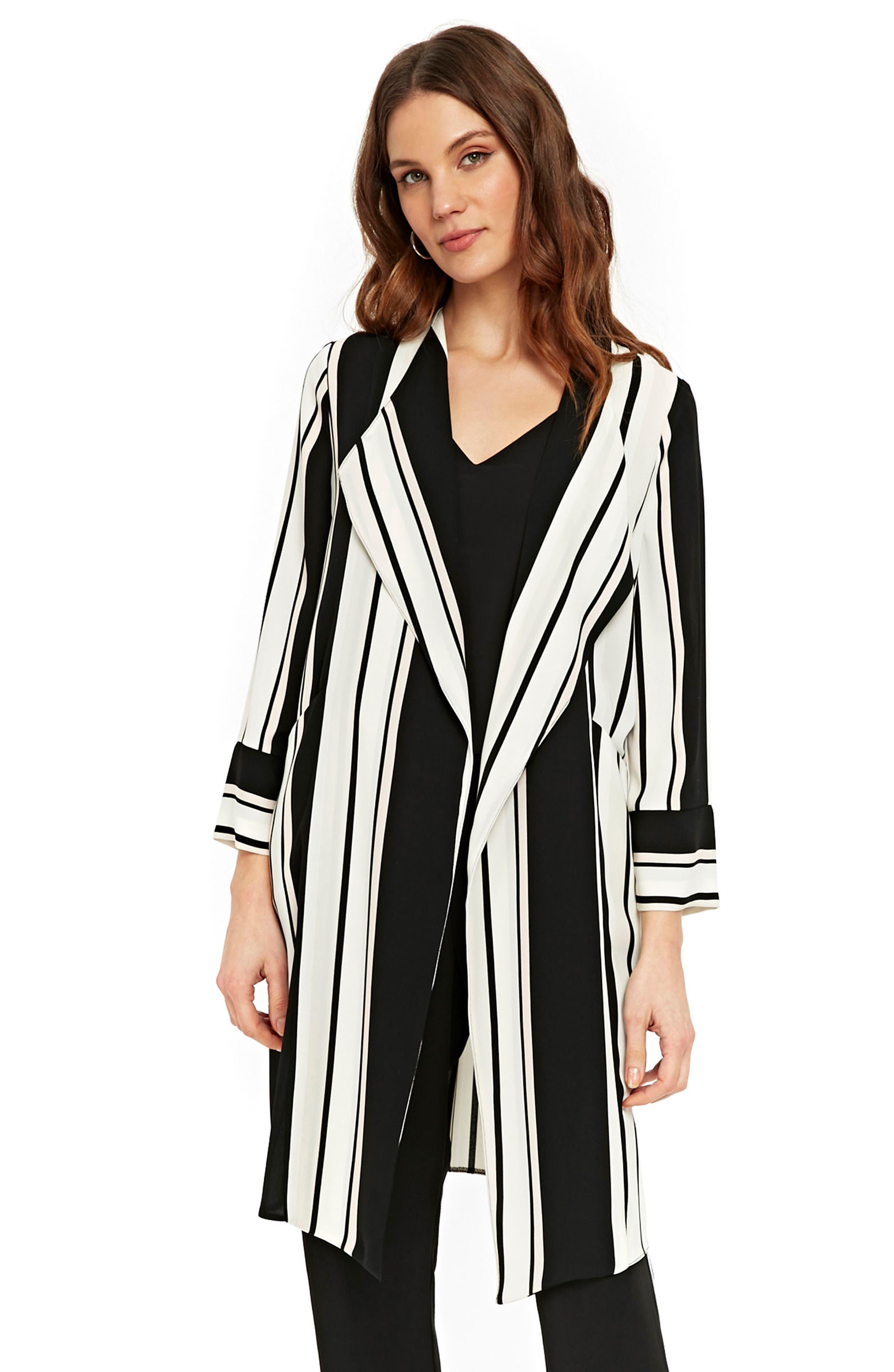 Cut About Stella Stripe Duster Coat,                             Alternate thumbnail 4, color,                             Black