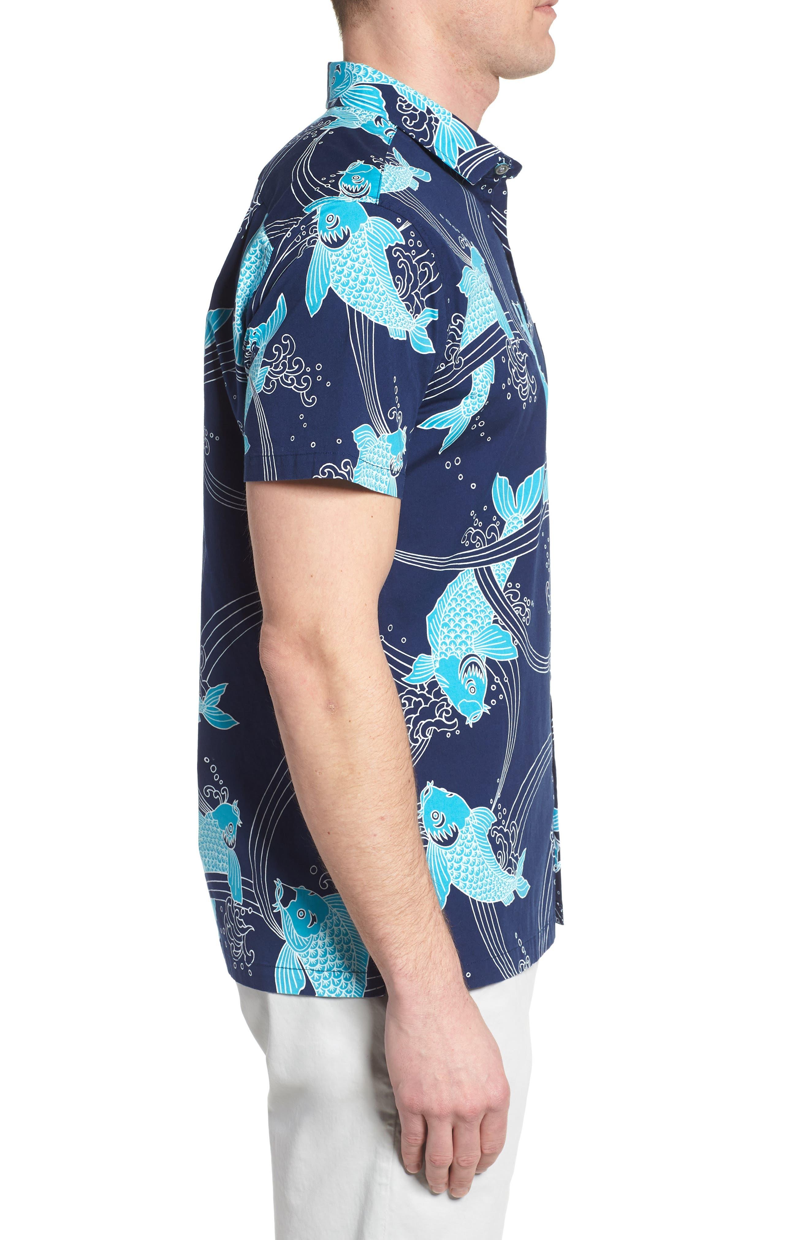 Koi Cabana Trim Fit Camp Shirt,                             Alternate thumbnail 4, color,                             Navy