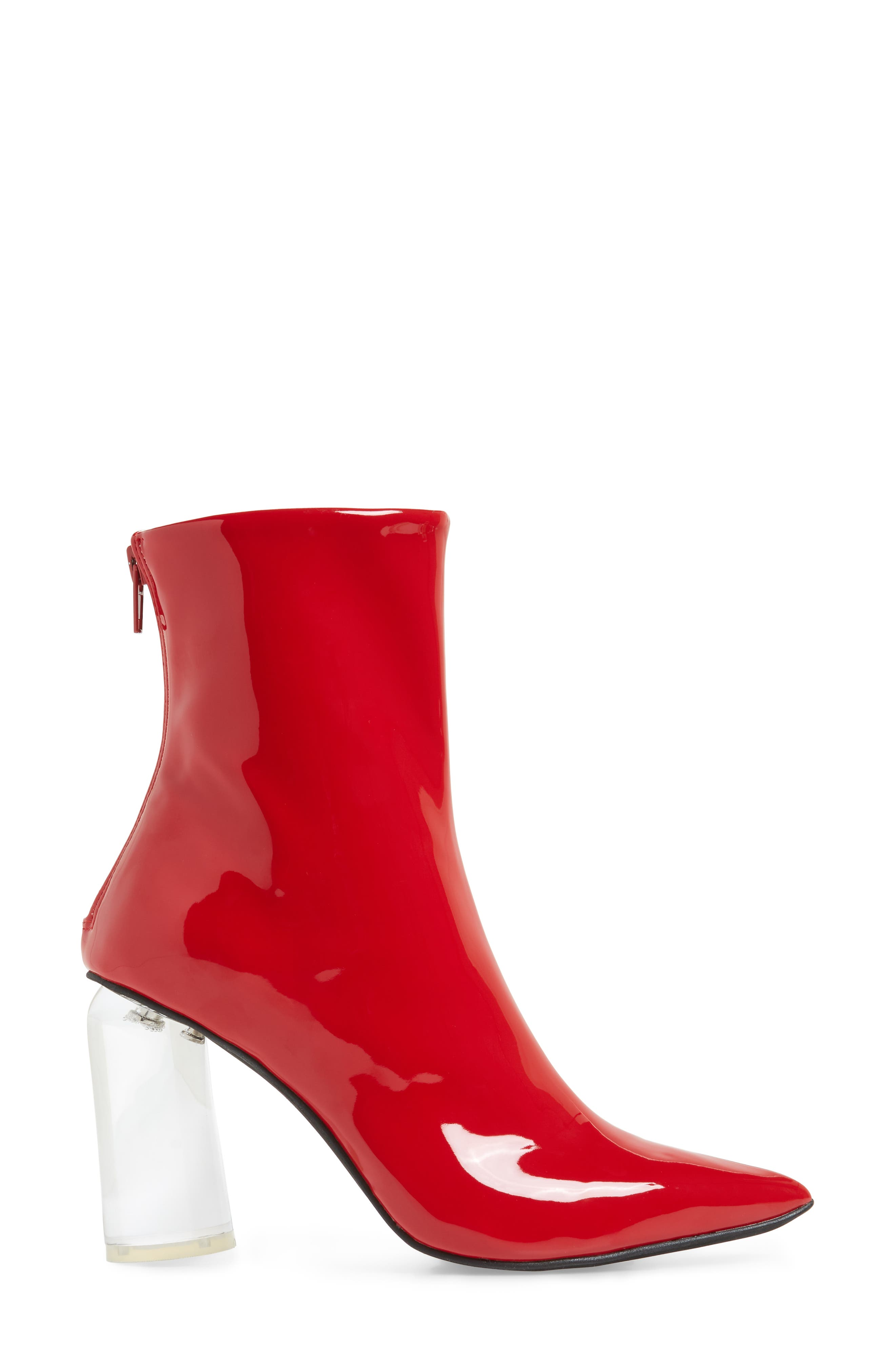 Lustrous Column Heel Bootie,                             Alternate thumbnail 3, color,                             Red Patent Leather/ Clear