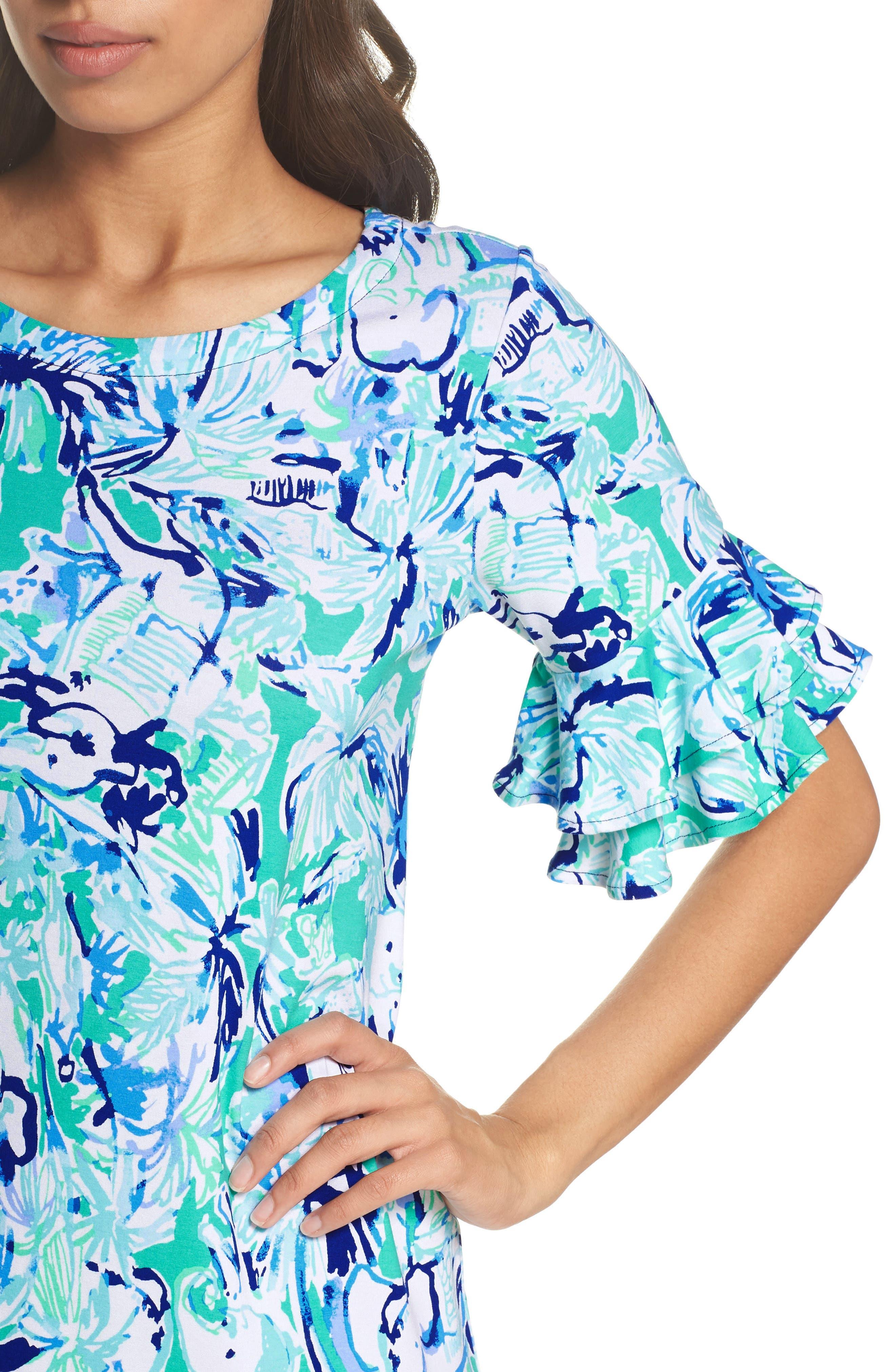Lula Ruffle Sleeve Dress,                             Alternate thumbnail 4, color,                             Tropical Turquoise Elephant