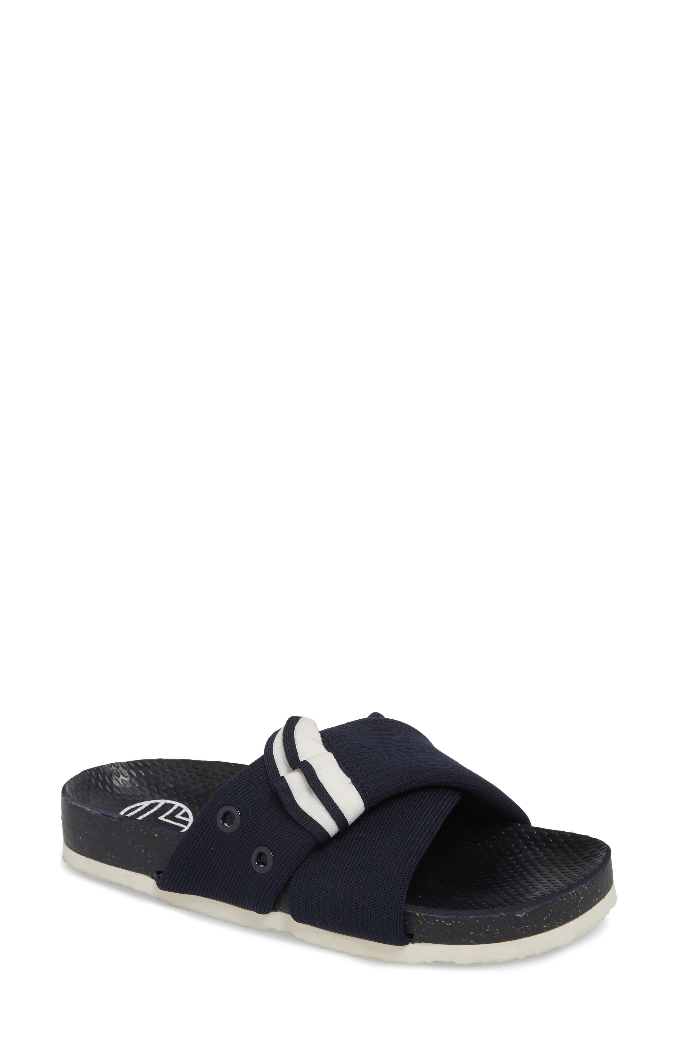 Sidecar Ruffle Slide,                         Main,                         color, Bright Navy/ Show White