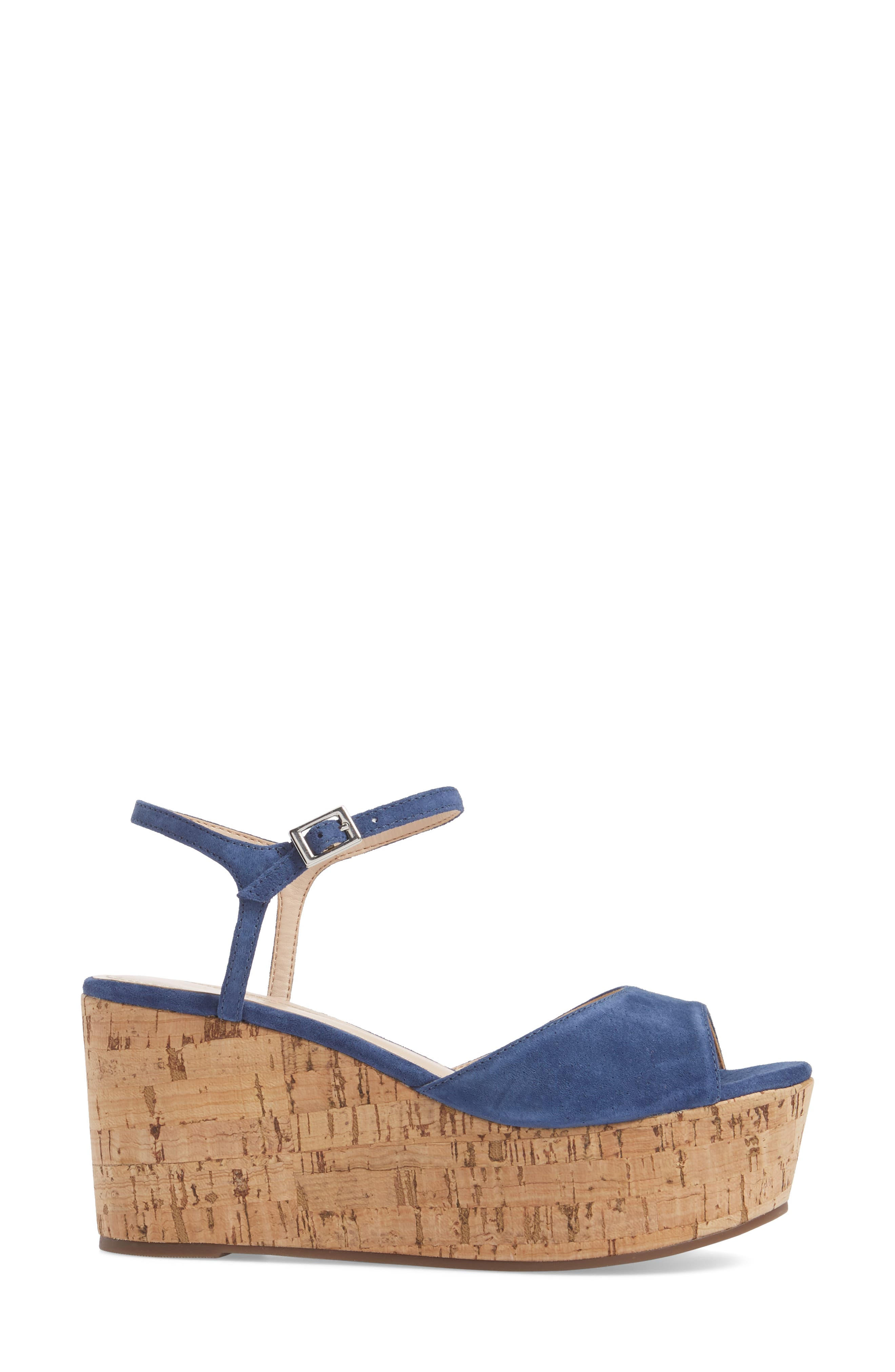 Heloise Platform Wedge Sandal,                             Alternate thumbnail 3, color,                             Dress Blue