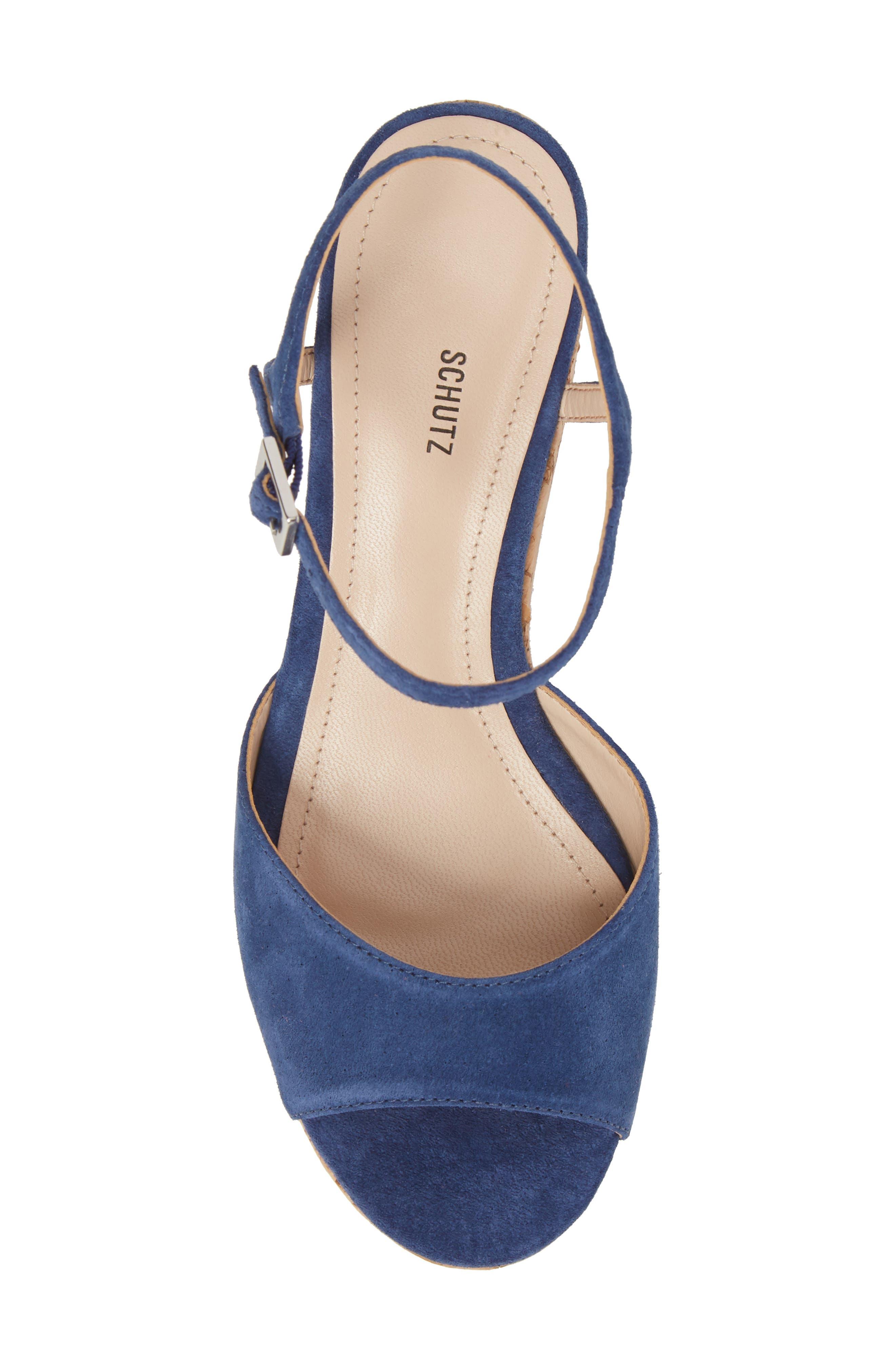 Heloise Platform Wedge Sandal,                             Alternate thumbnail 5, color,                             Dress Blue