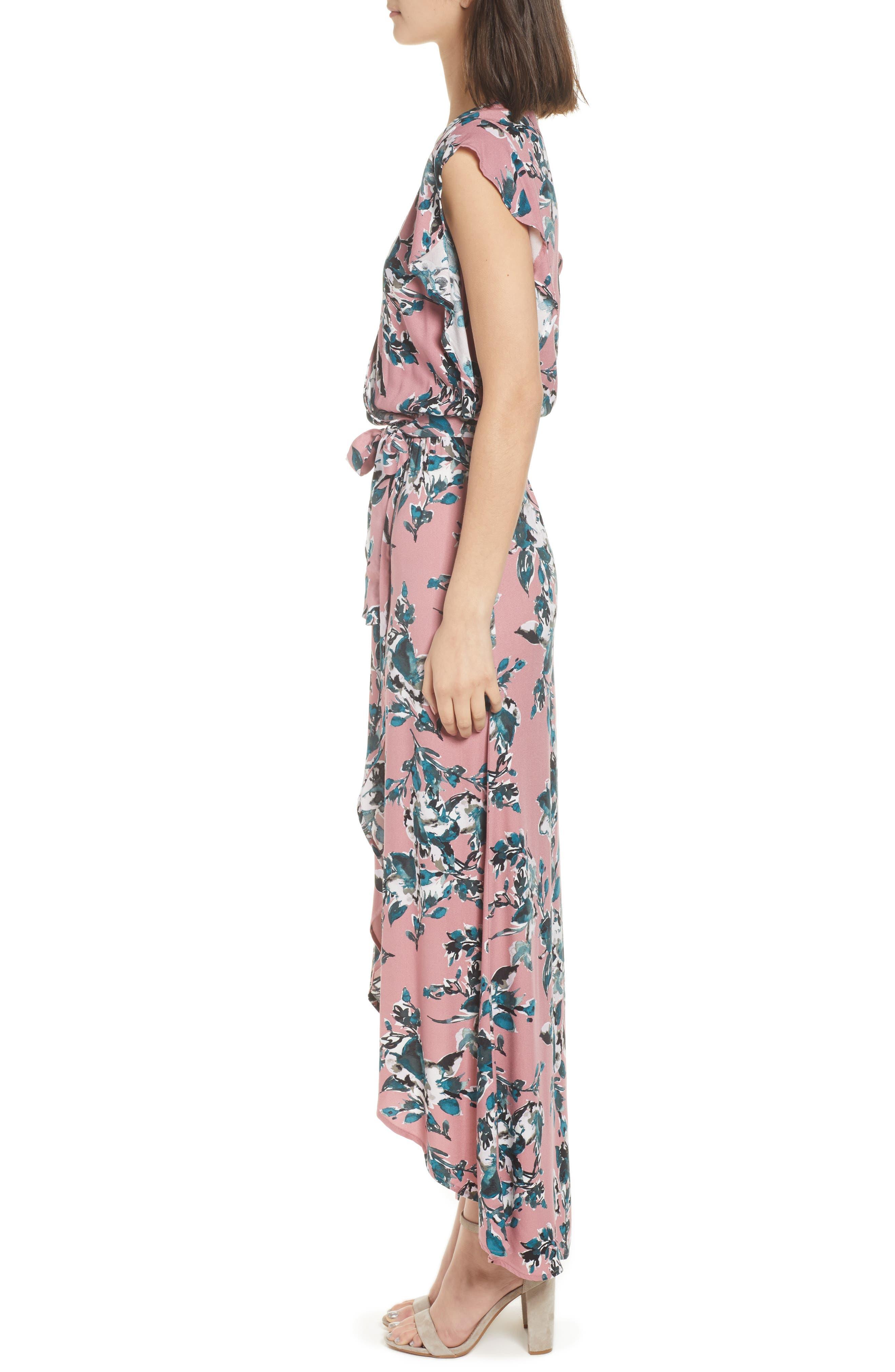 Floral Print Wrap Maxi Dress,                             Alternate thumbnail 3, color,                             Rose Dust
