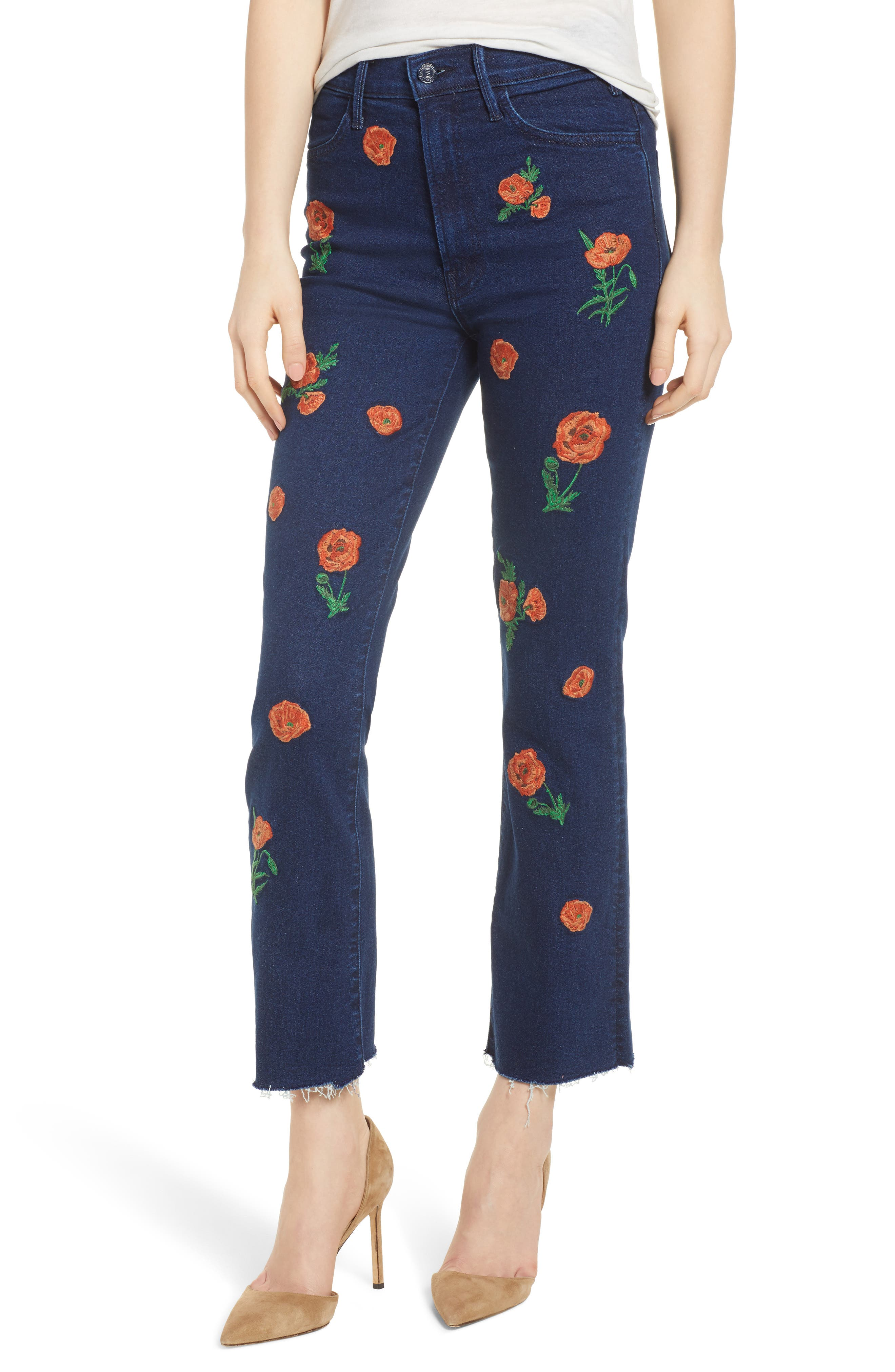 MOTHER The Hustler Embroidered Fray Ankle Bootcut Jeans (A Field of Poppies)