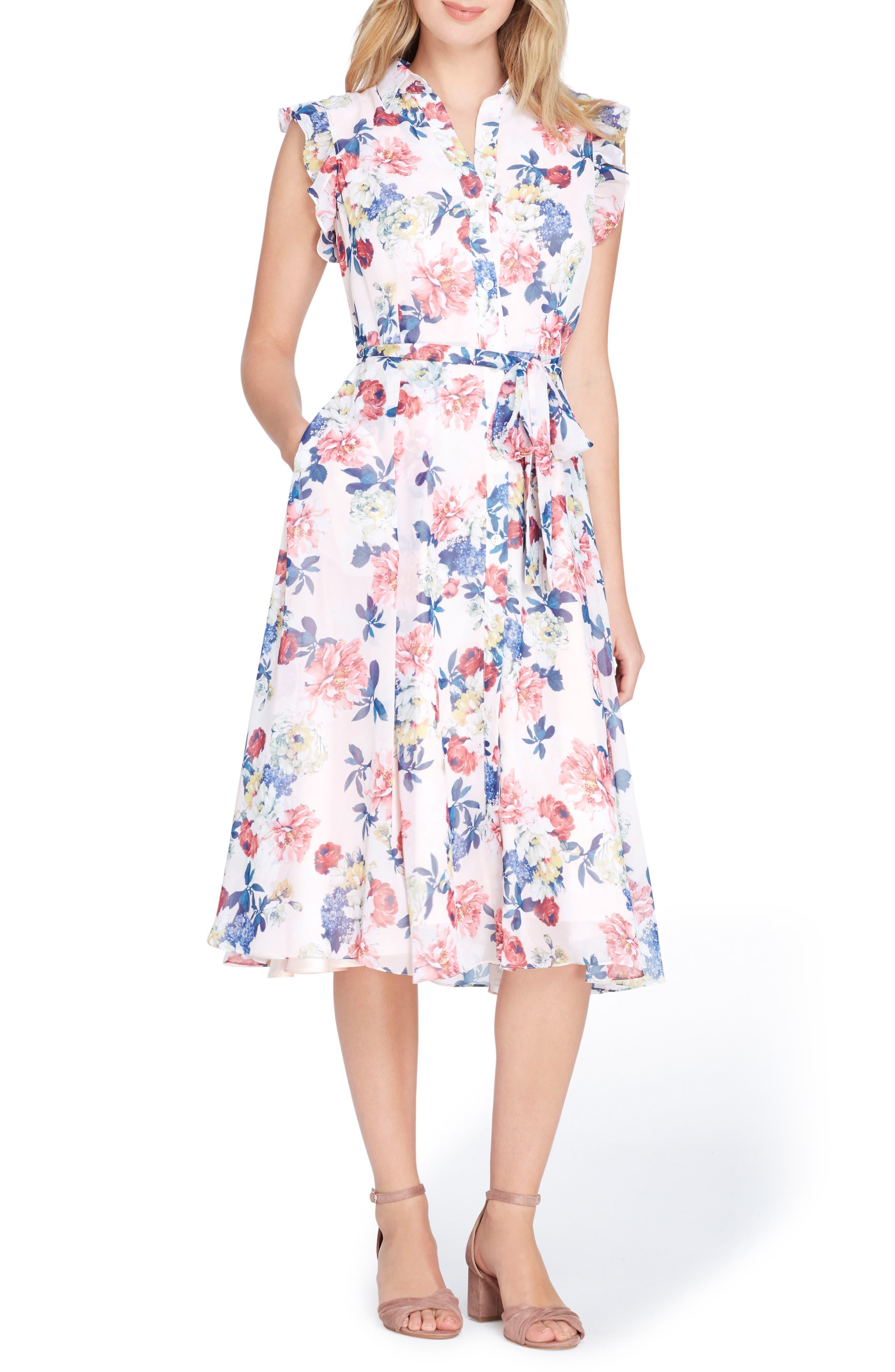 Floral Chiffon Shirtdress,                             Main thumbnail 1, color,                             Blush/ Tea Rose/ Navy