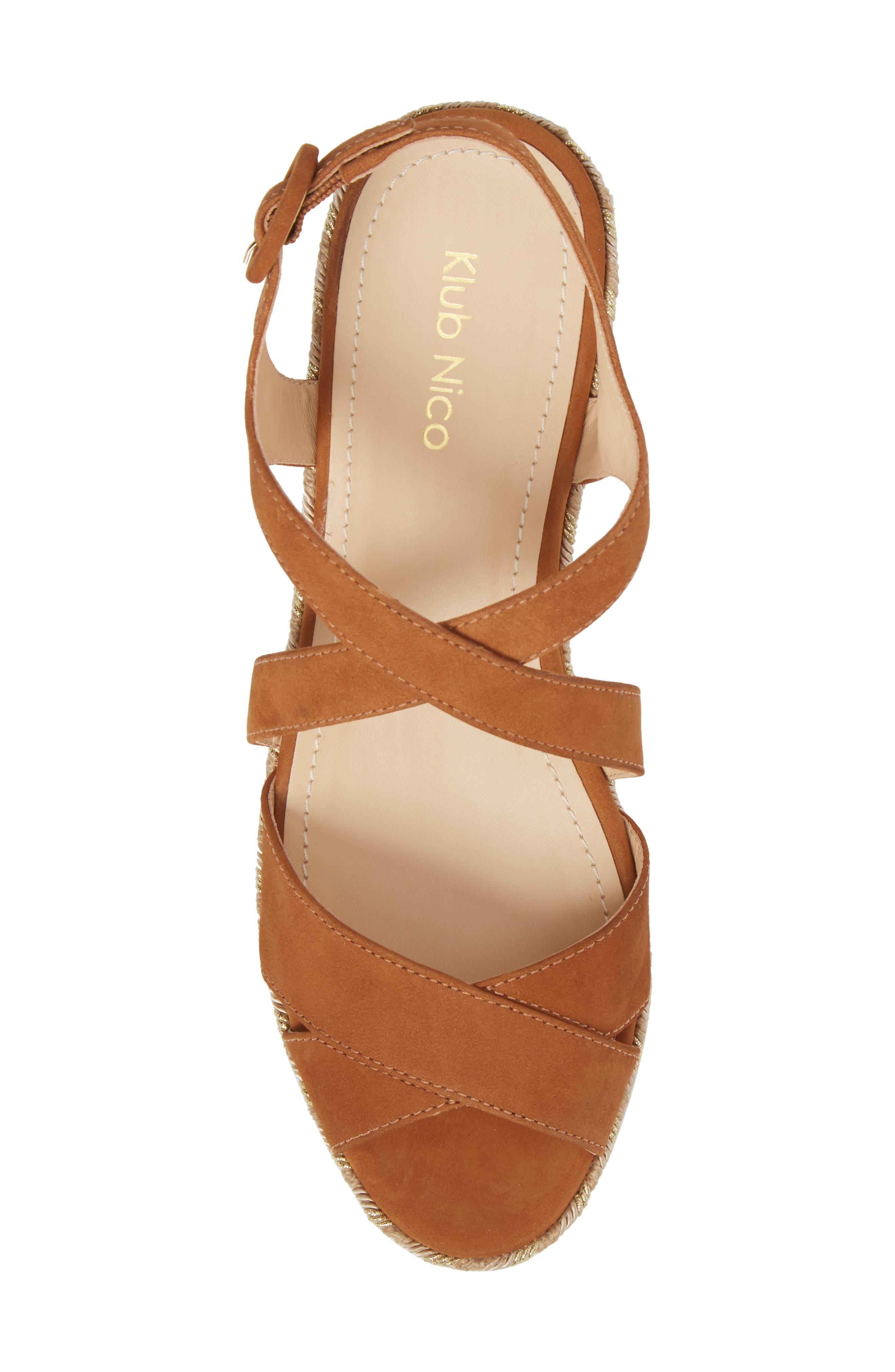 Vikki Espadrille Platform Sandal,                             Alternate thumbnail 5, color,                             Tan Leather
