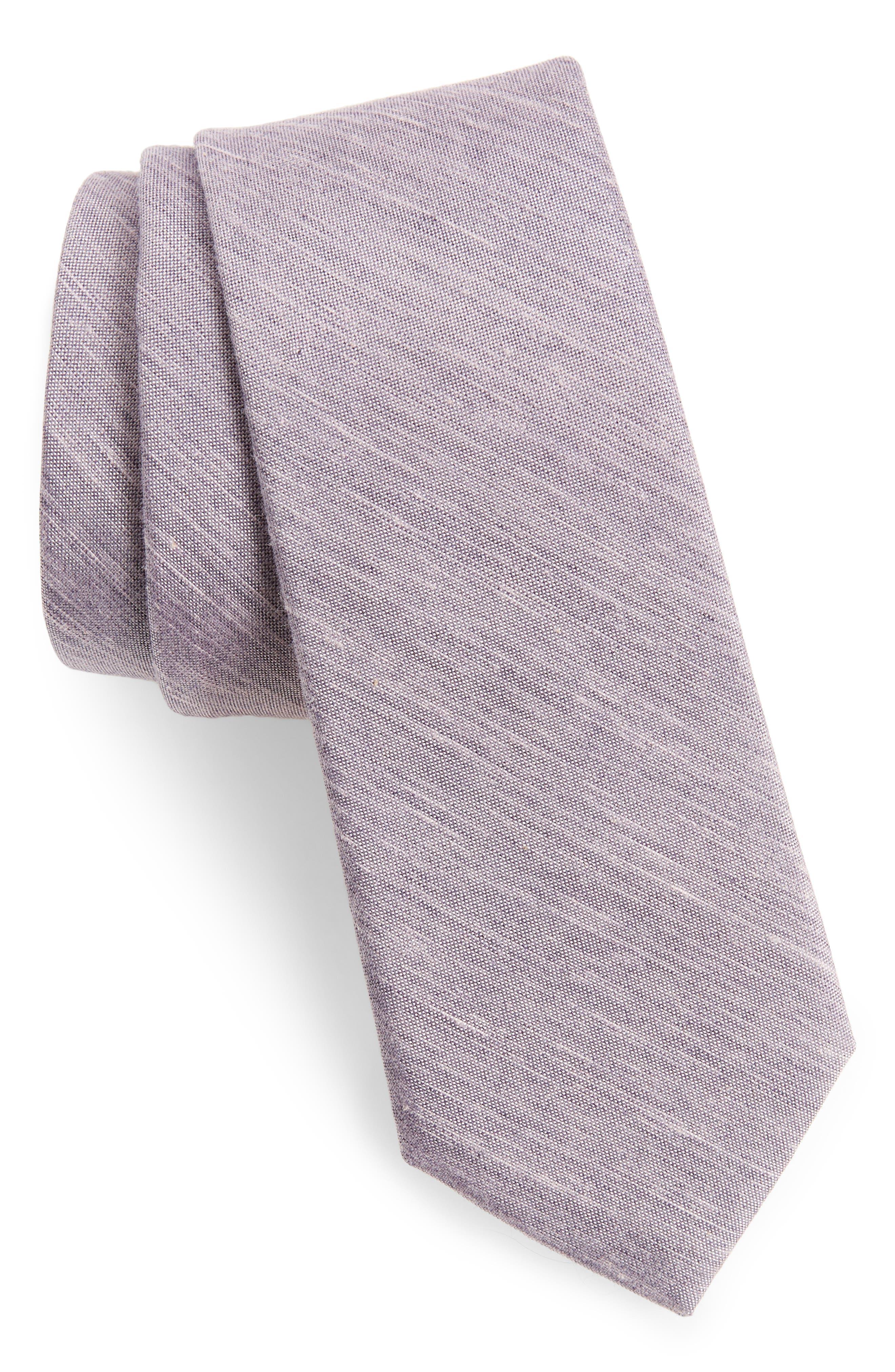 Marcus Solid Cotton Blend Tie,                             Main thumbnail 1, color,                             Charcoal