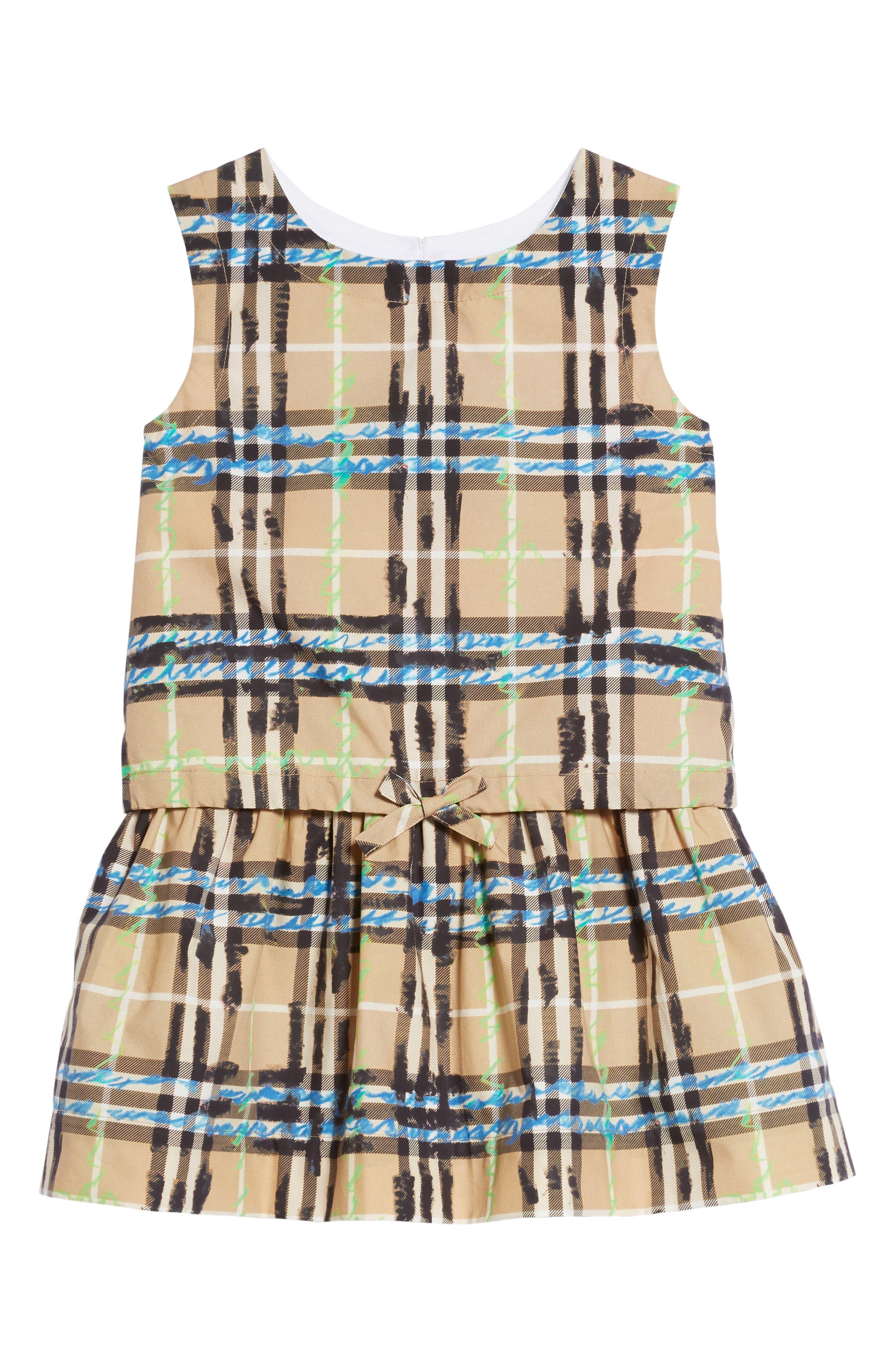 Mini Mabel Scribble Check Dress,                             Main thumbnail 1, color,                             Bright Blue