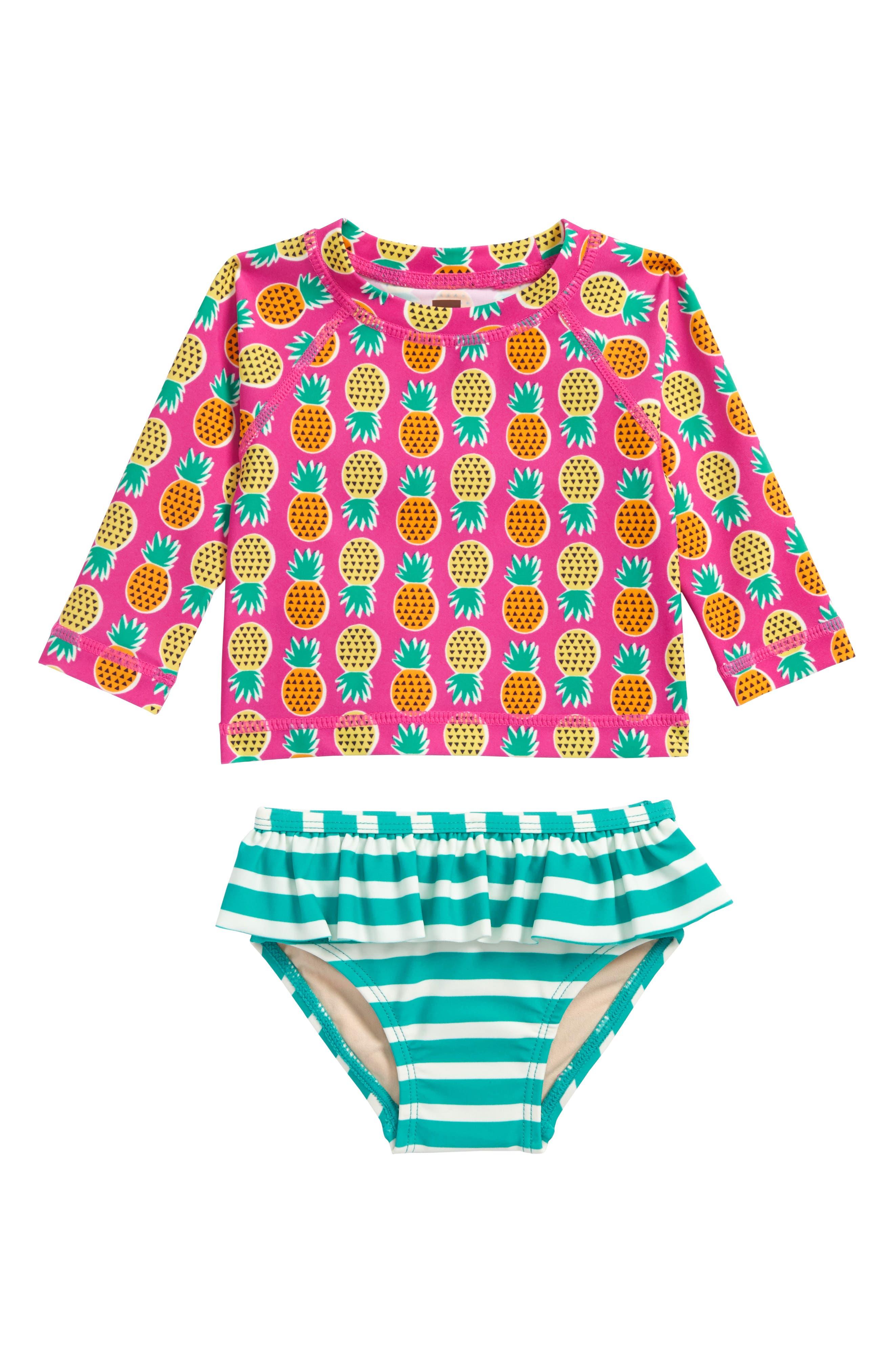 Mixed Print Two-Piece Rashguard Swimsuit,                             Main thumbnail 1, color,                             Tropical Pineapples