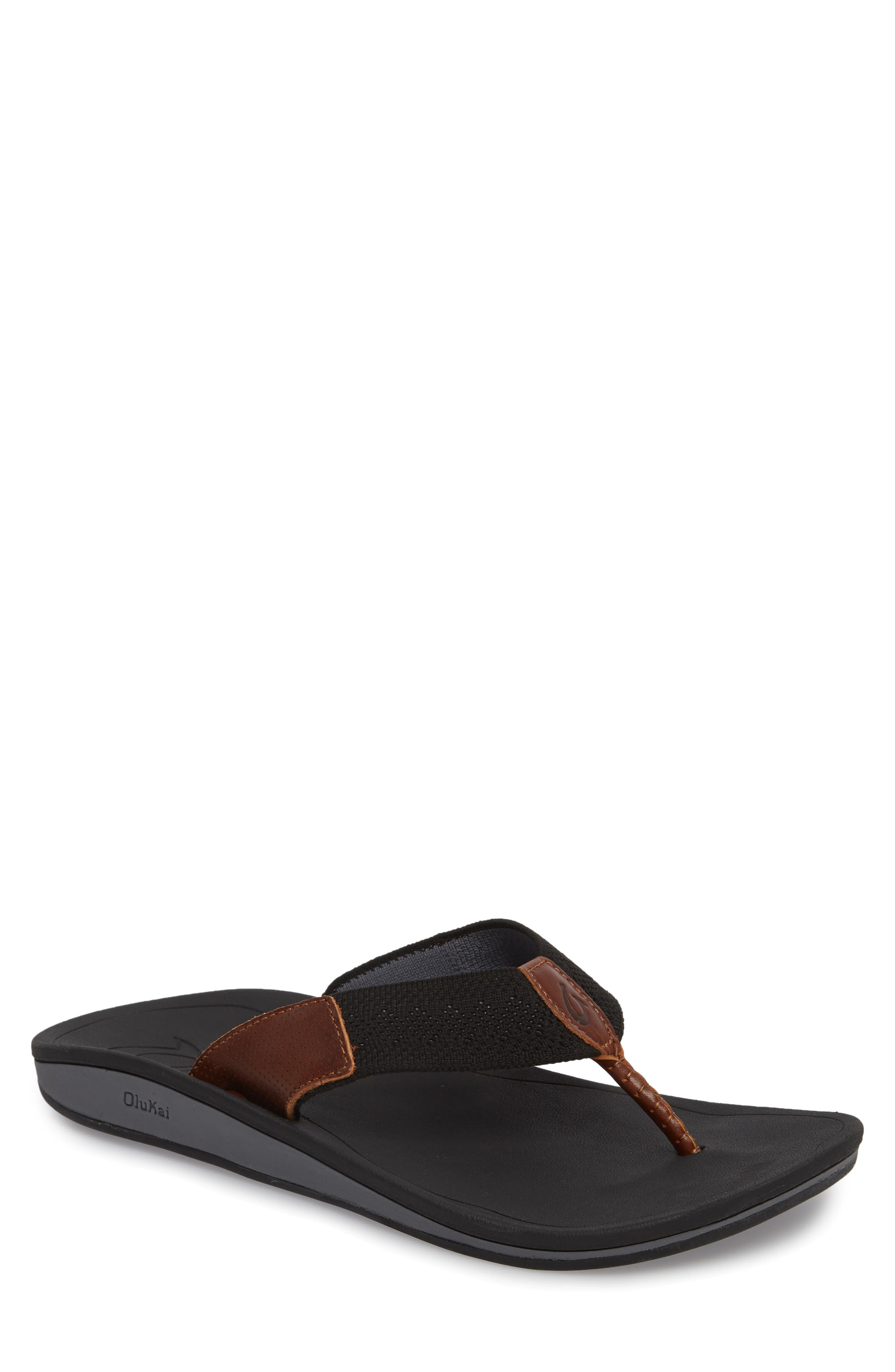 Nohona Ulana Flip Flop,                         Main,                         color, Black/ Black Leather