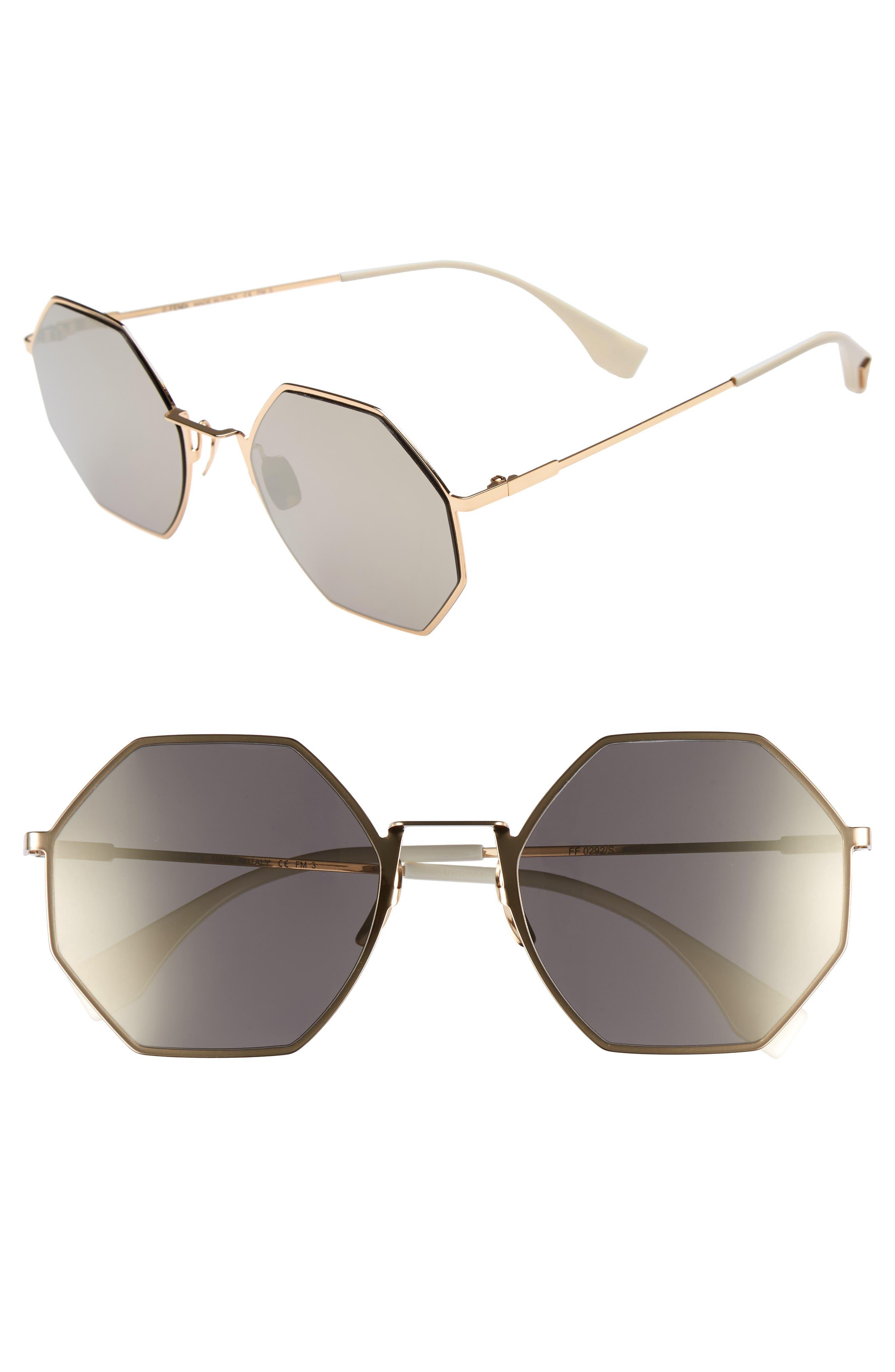 53Mm Octagonal Polarized Metal Sunglasses - Gold