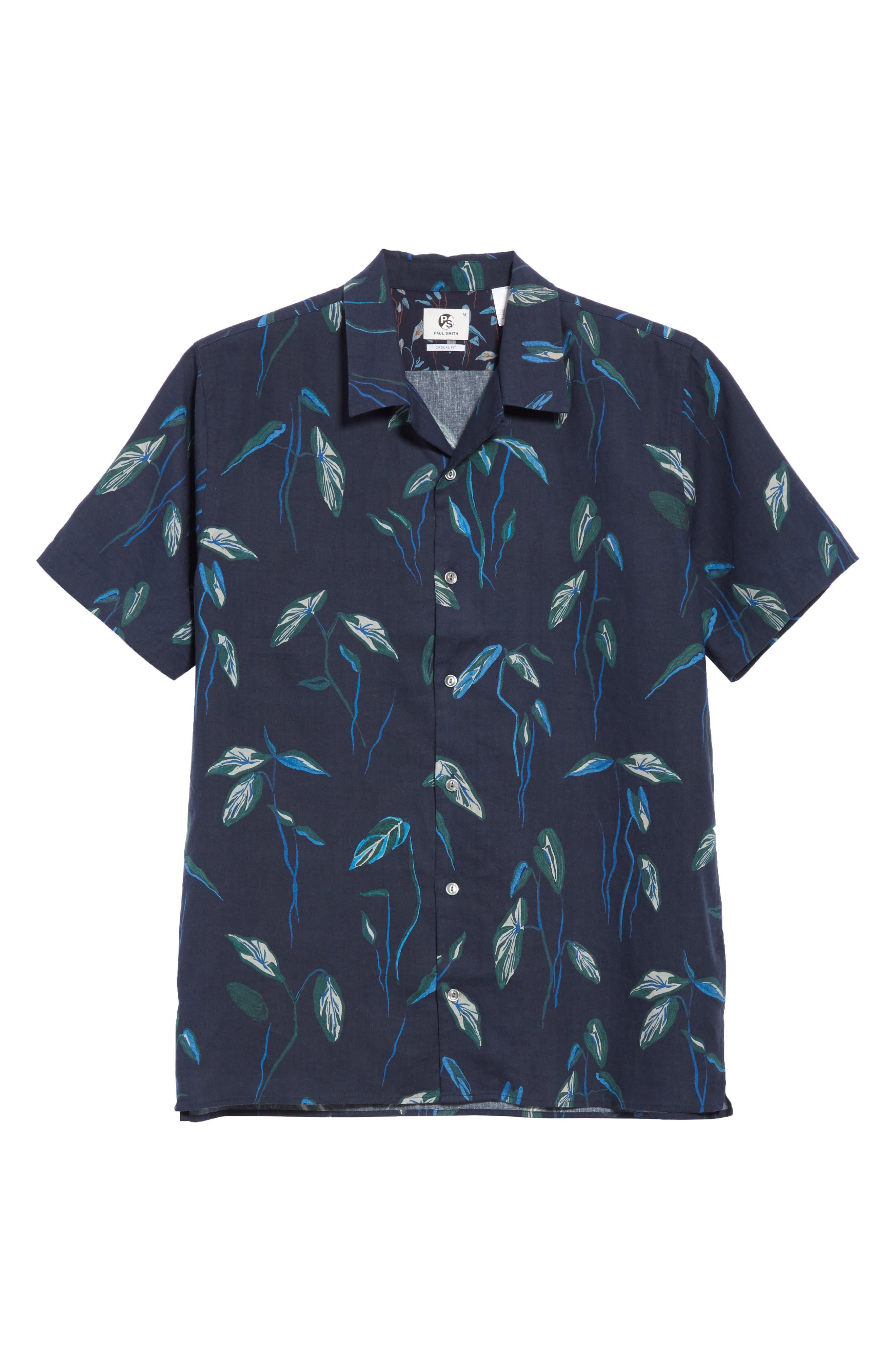 Botanical Print Shirt,                             Alternate thumbnail 6, color,                             Navy