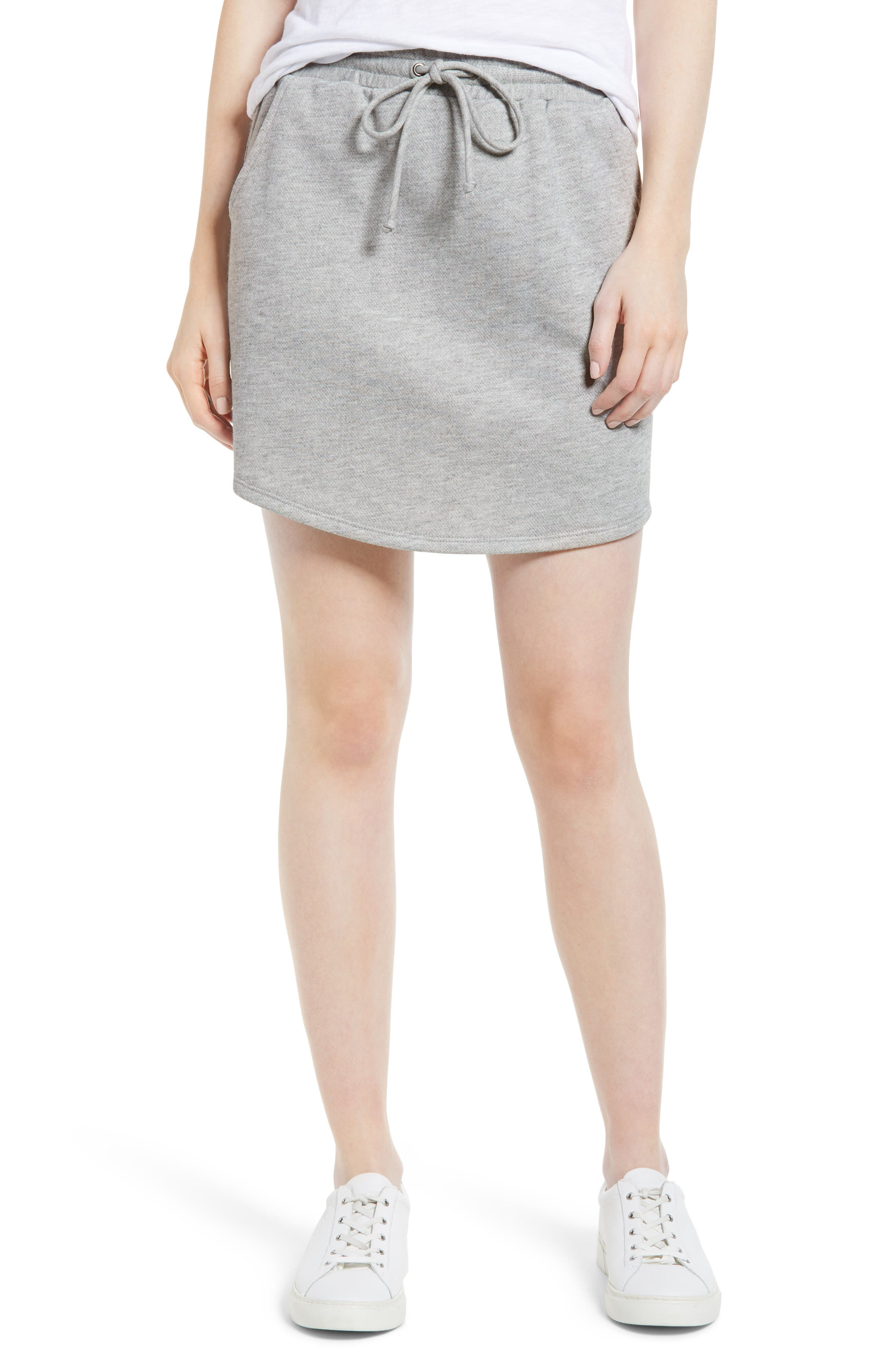 x Living in Yellow Cassidy French Terry Skirt,                             Main thumbnail 1, color,                             Heather Grey
