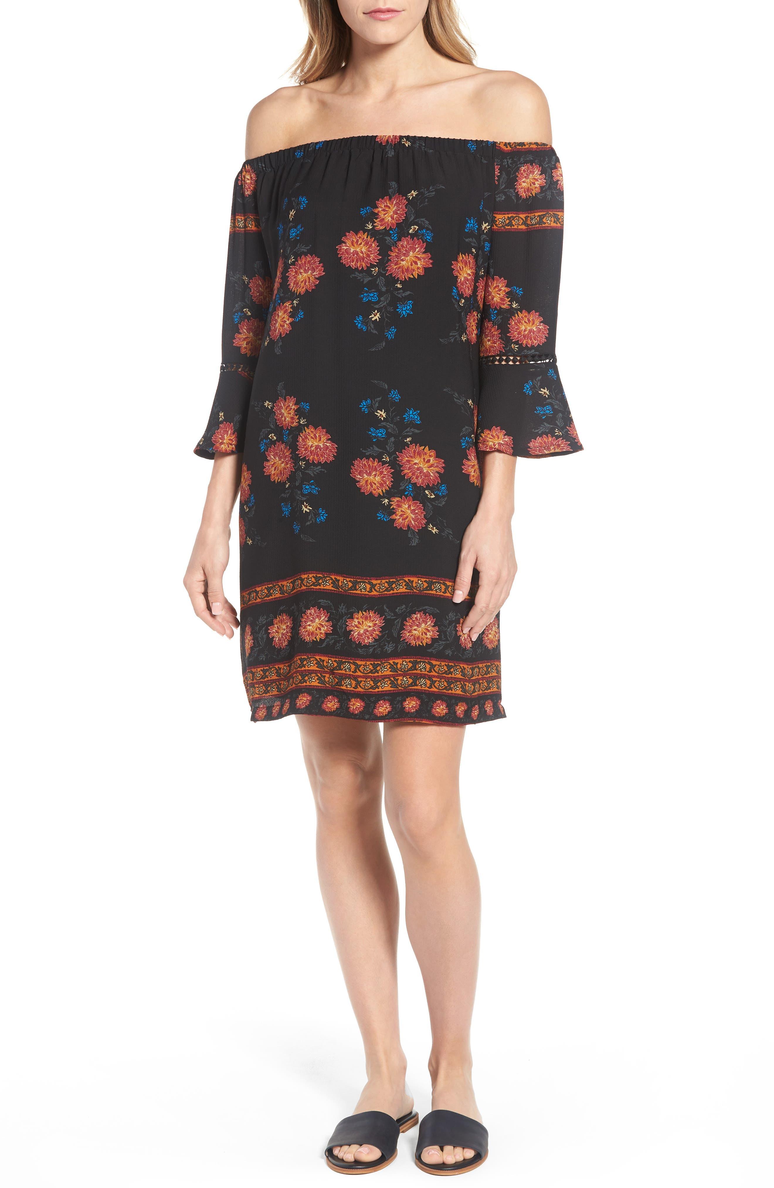 Press Off the Shoulder Bell Sleeve Floral Dress