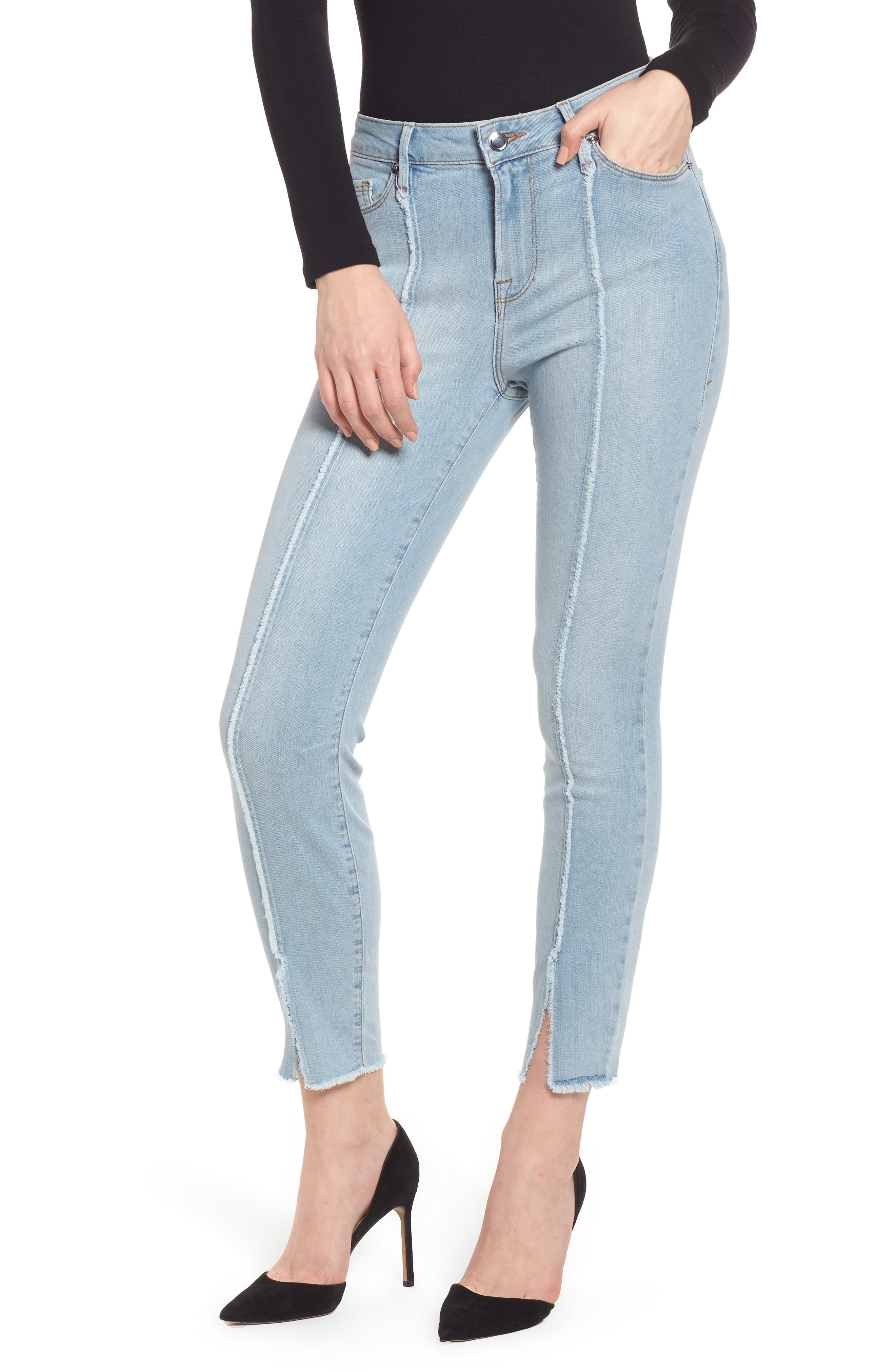 Good American Good Legs High Waist Raw Seam Crop Skinny Jeans (Blue 136) (Regular & Plus Size)