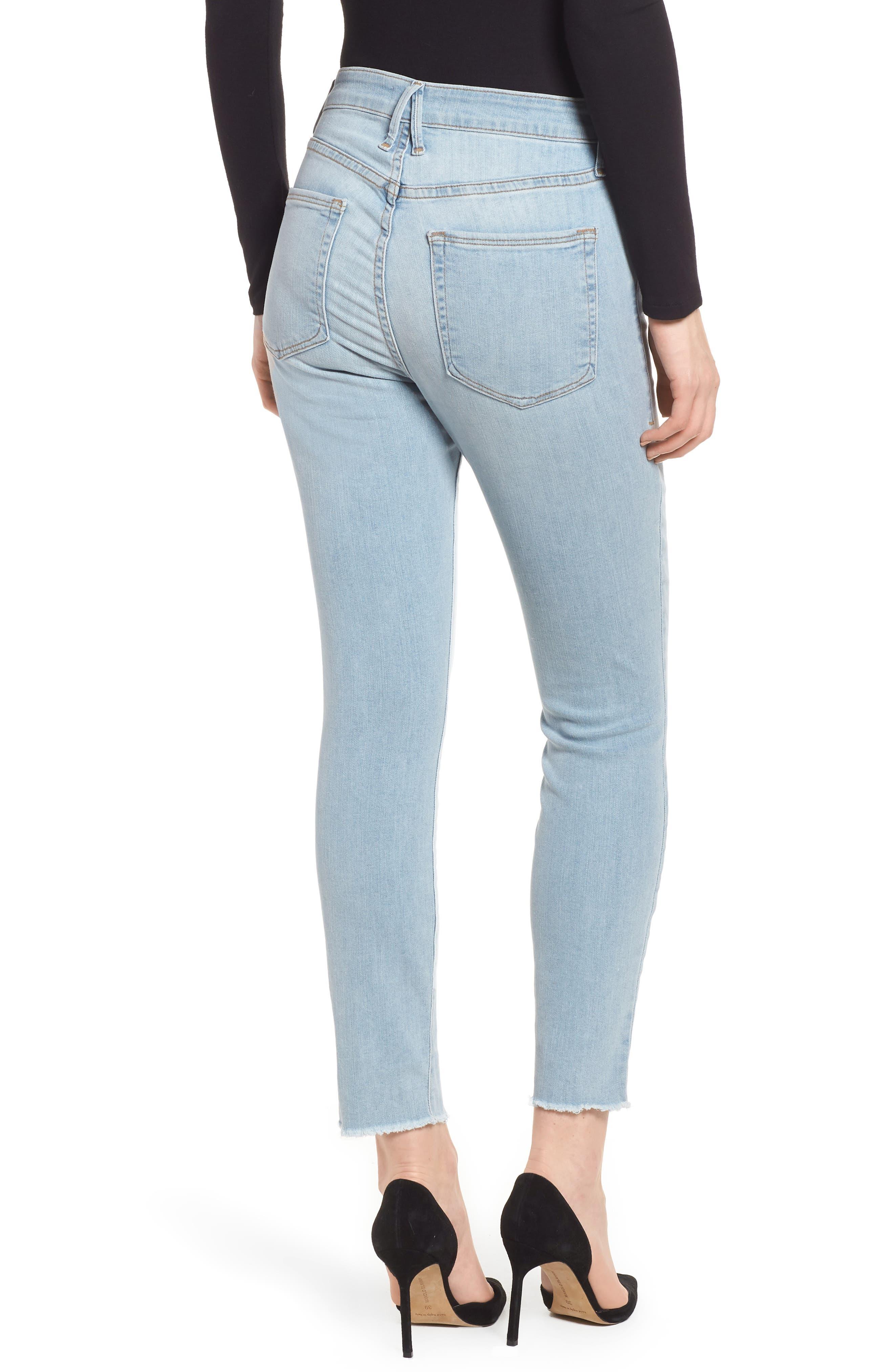 Good Legs High Waist Raw Seam Crop Skinny Jeans,                             Alternate thumbnail 2, color,                             Blue136