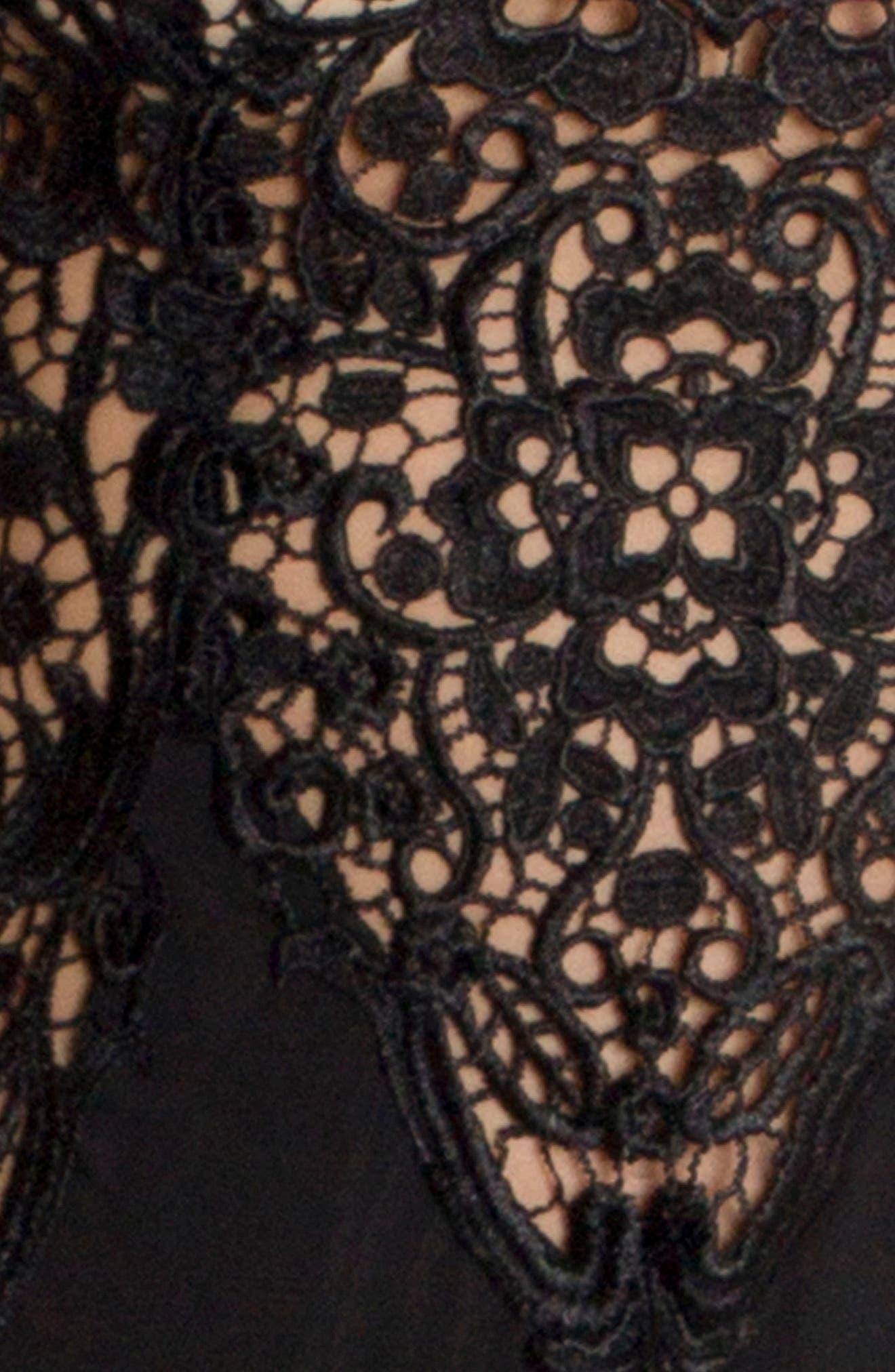 Lace & Satin Chemise,                             Alternate thumbnail 5, color,                             Black
