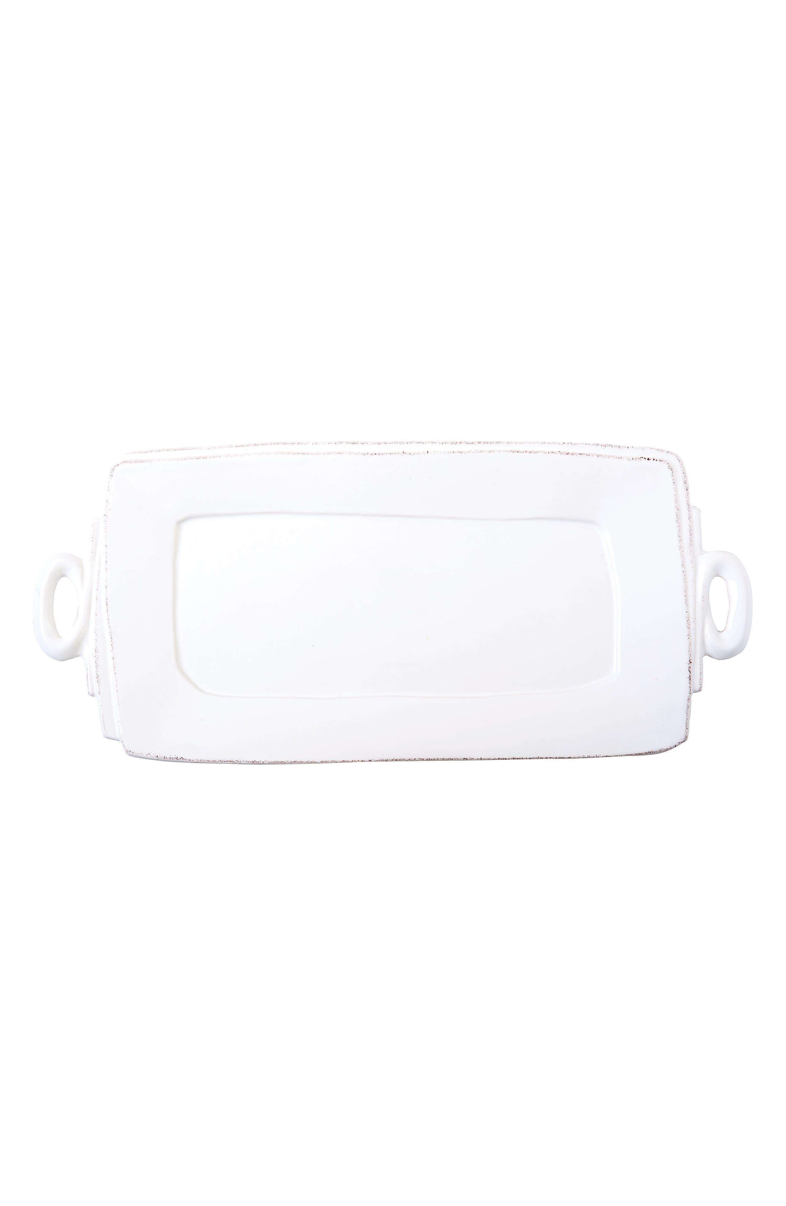 Lastra Handled Rectangular Platter,                             Main thumbnail 1, color,                             White